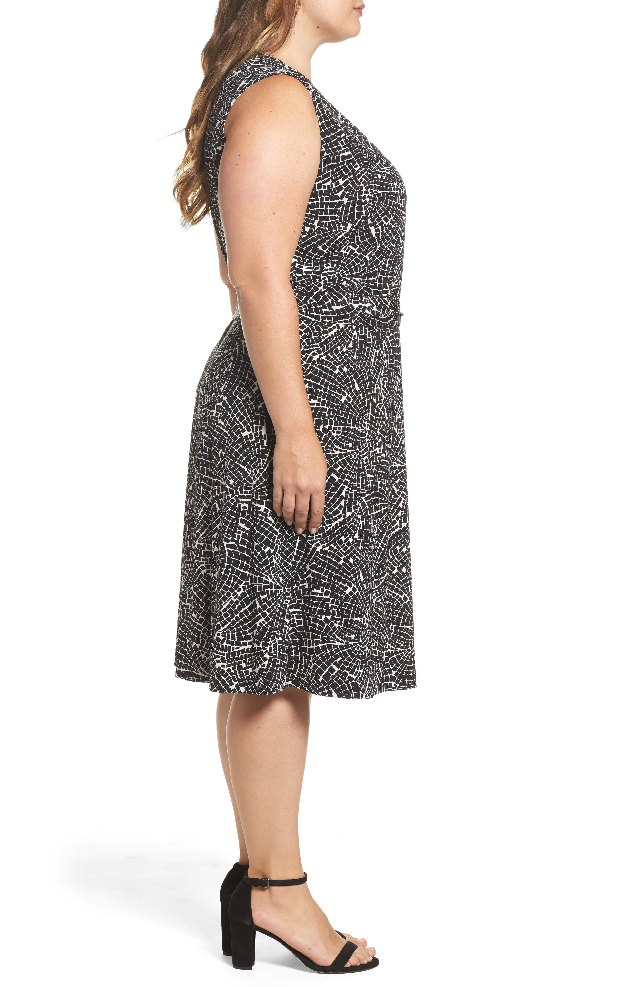 Modern Mosaic Wrap Dress,                             Alternate thumbnail 3, color,                             001