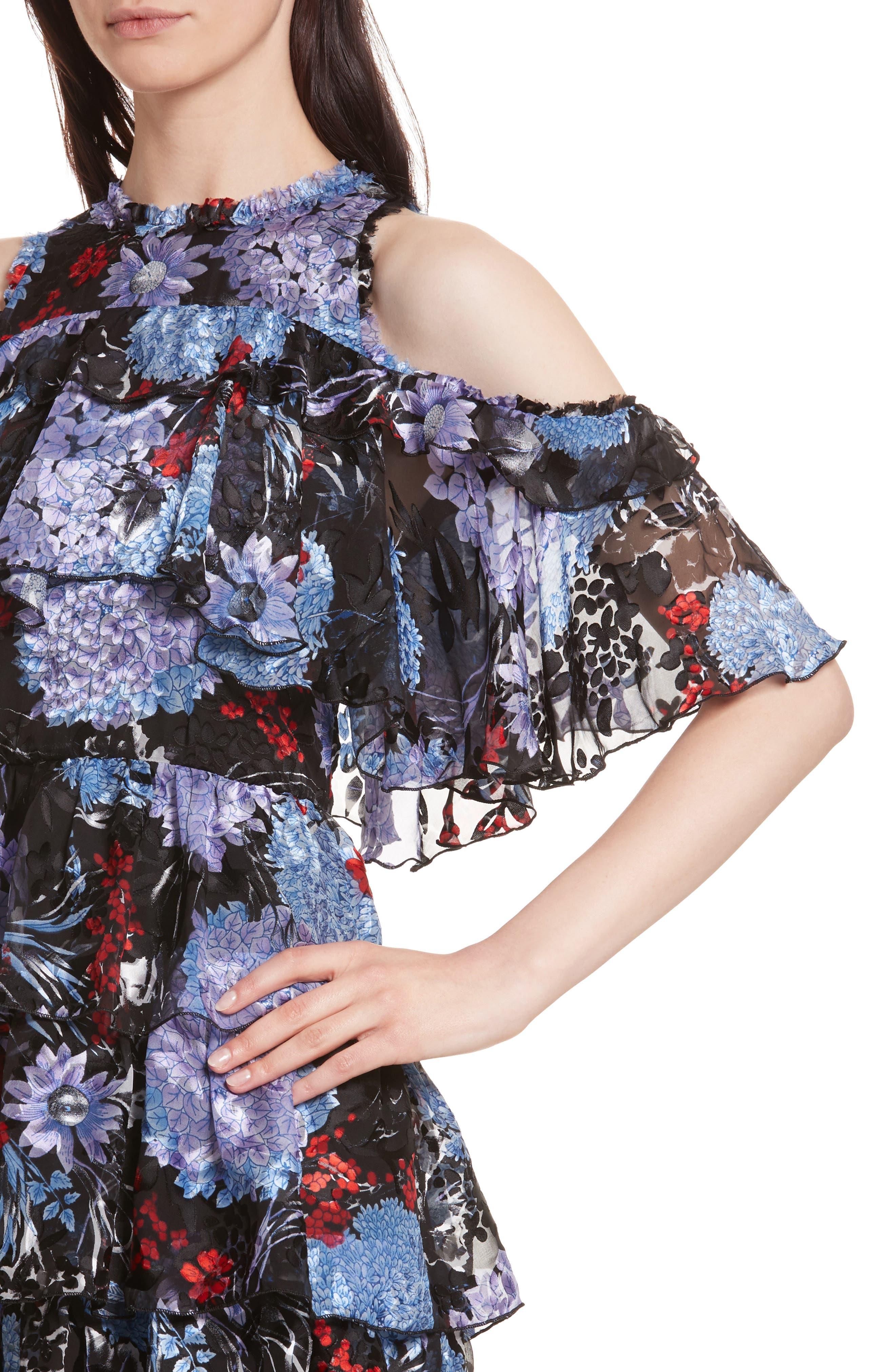 Nichola Cold Shoulder Floral Dress,                             Alternate thumbnail 4, color,                             560