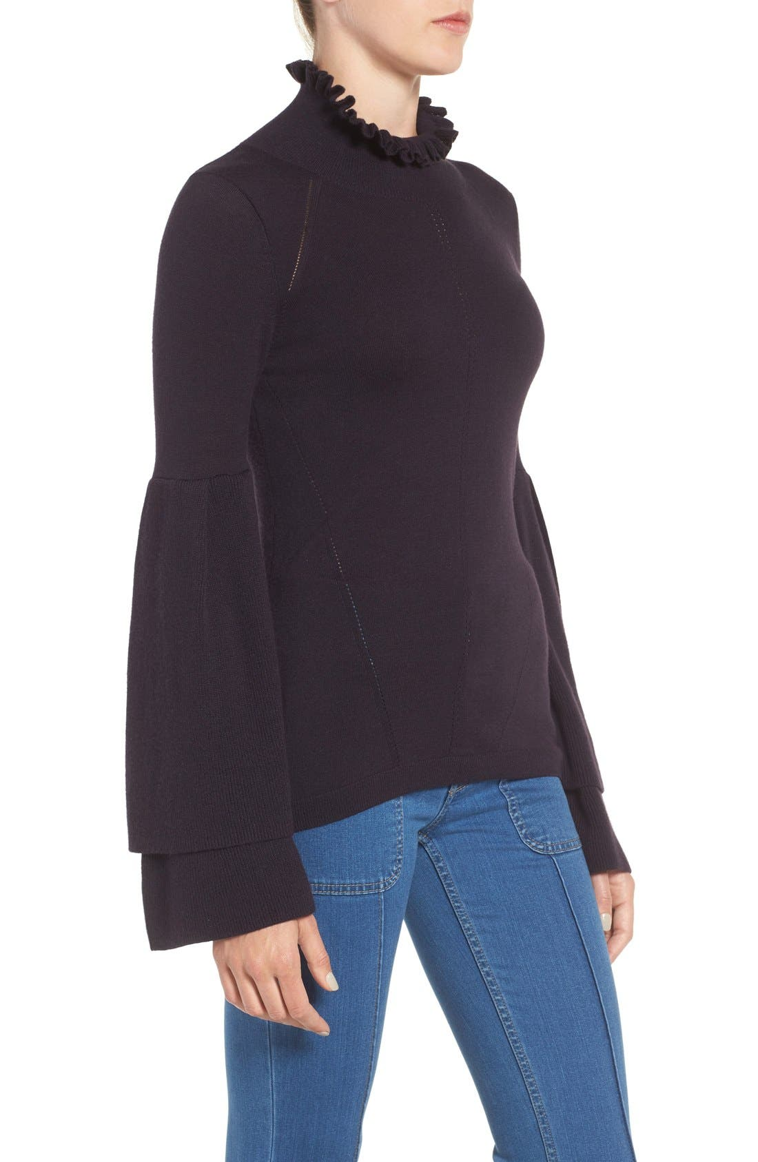 Olivia Palermo + Chelsea 28 Bell Sleeve Sweater,                             Alternate thumbnail 4, color,                             410