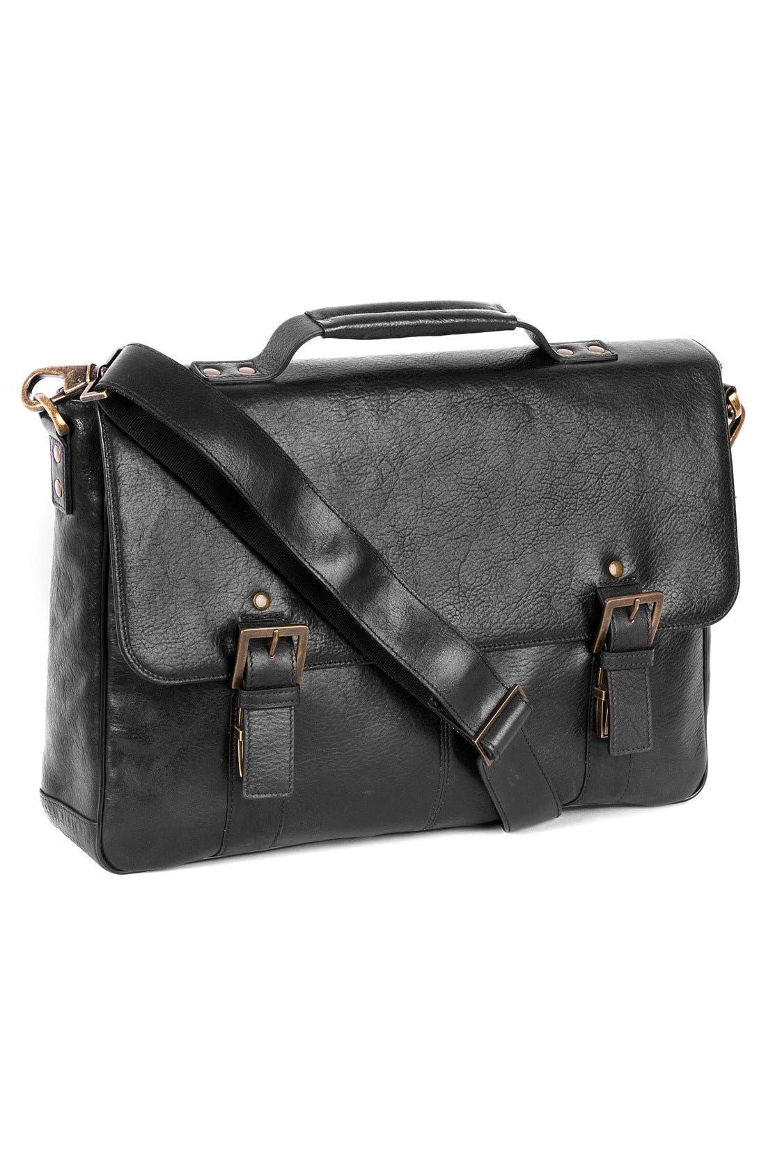 'Becker' Leather Messenger Bag,                             Alternate thumbnail 5, color,                             BLACK W/ KHAKI