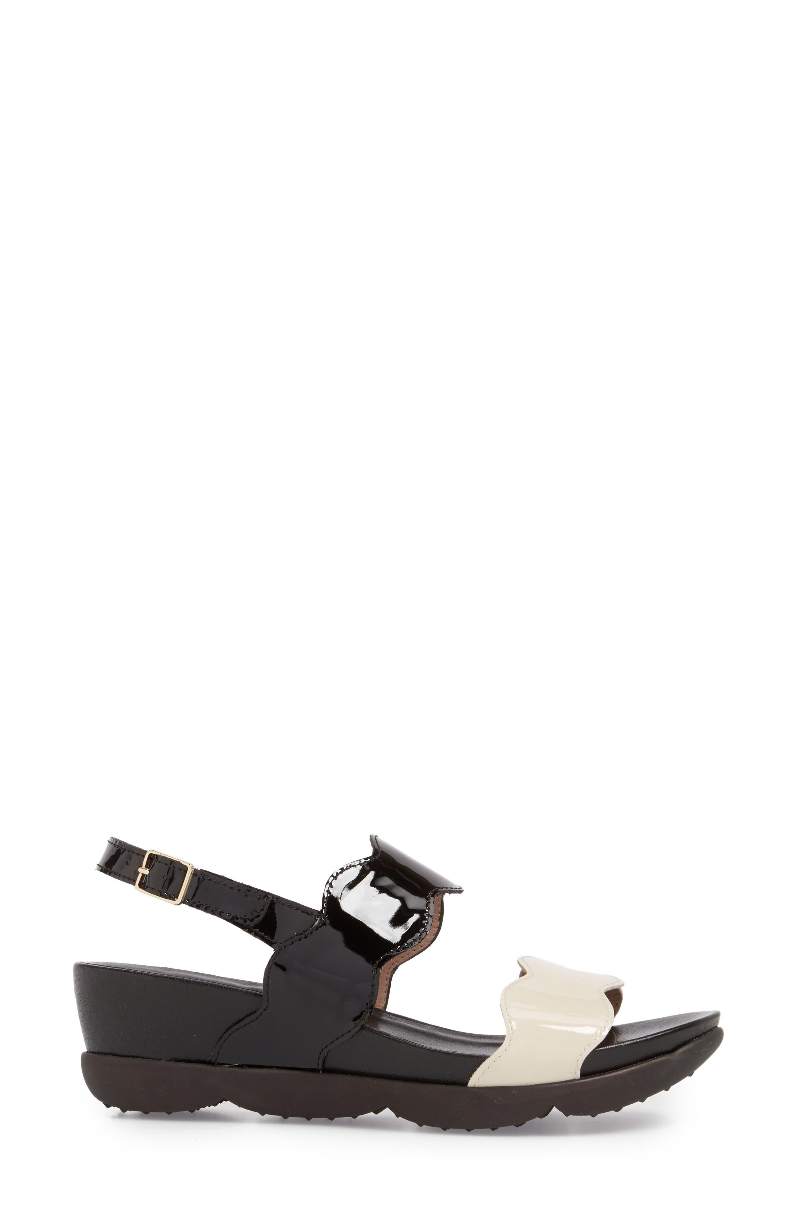 Wedge Sandal,                             Alternate thumbnail 3, color,                             BLACK/ OFF LEATHER