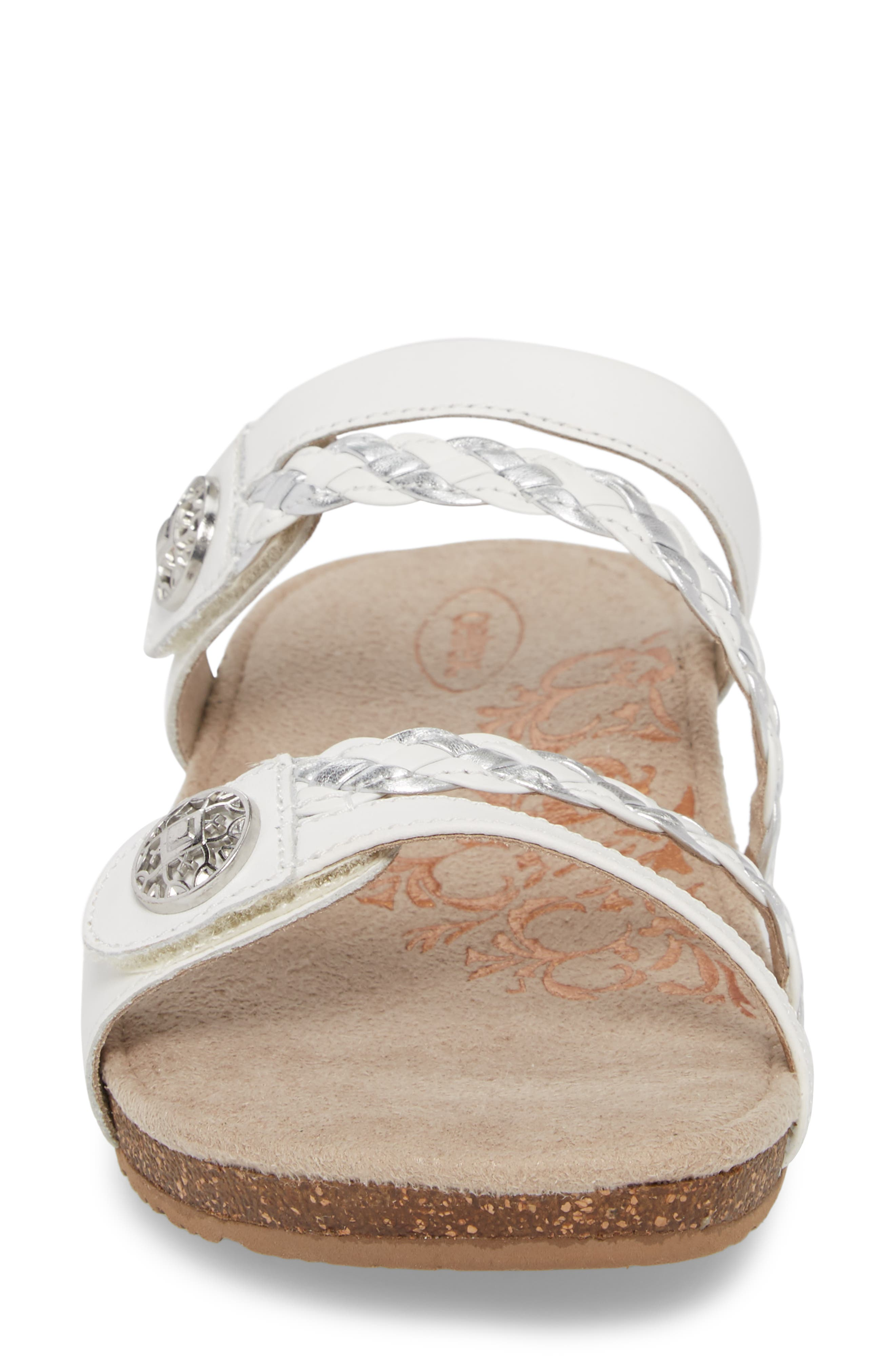 Janey Braided Slide Sandal,                             Alternate thumbnail 4, color,                             WHITE LEATHER