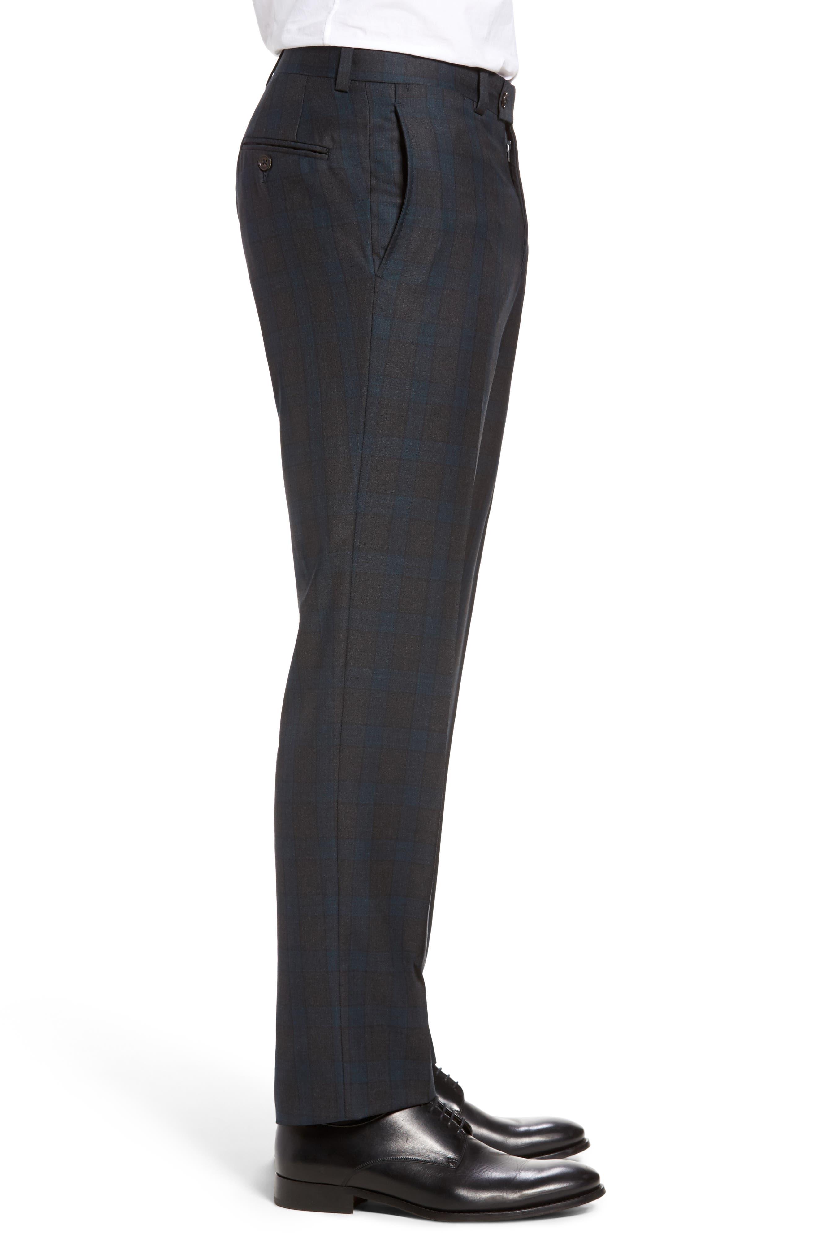 Jefferson Flat Front Plaid Wool Trousers,                             Alternate thumbnail 4, color,                             020