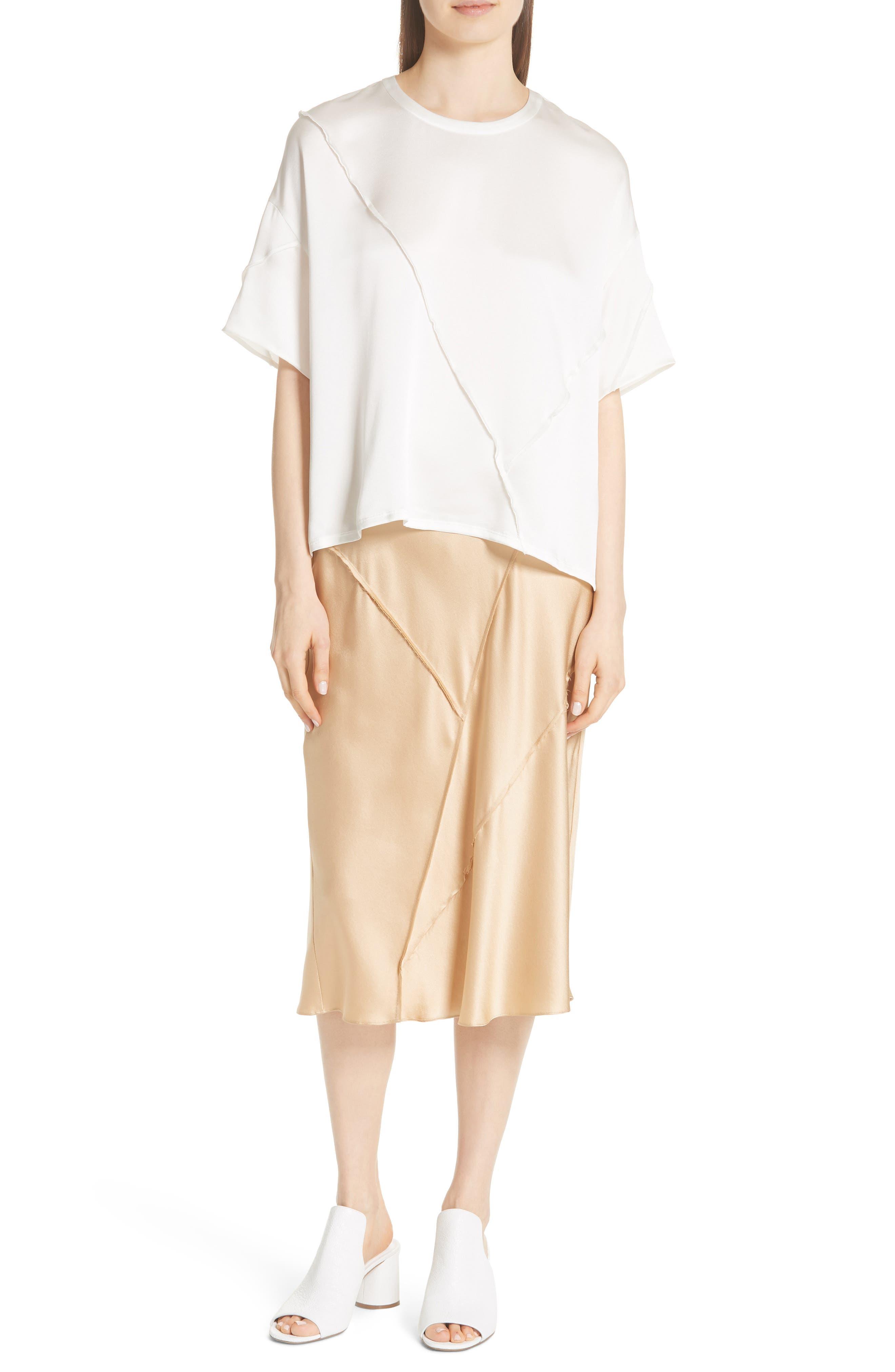Raw Edge Bias Silk Skirt,                             Alternate thumbnail 7, color,                             GINSENG