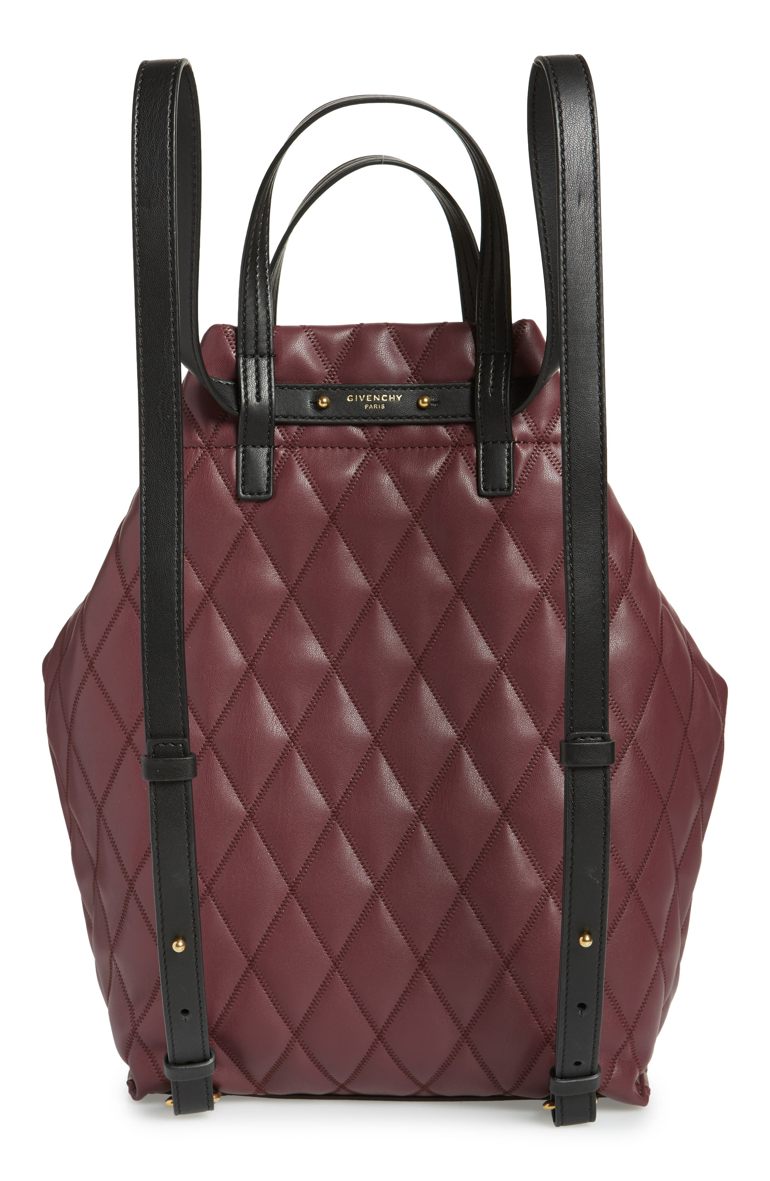 Duo Quilted Faux Leather Backpack,                             Alternate thumbnail 3, color,                             AUBERGINE