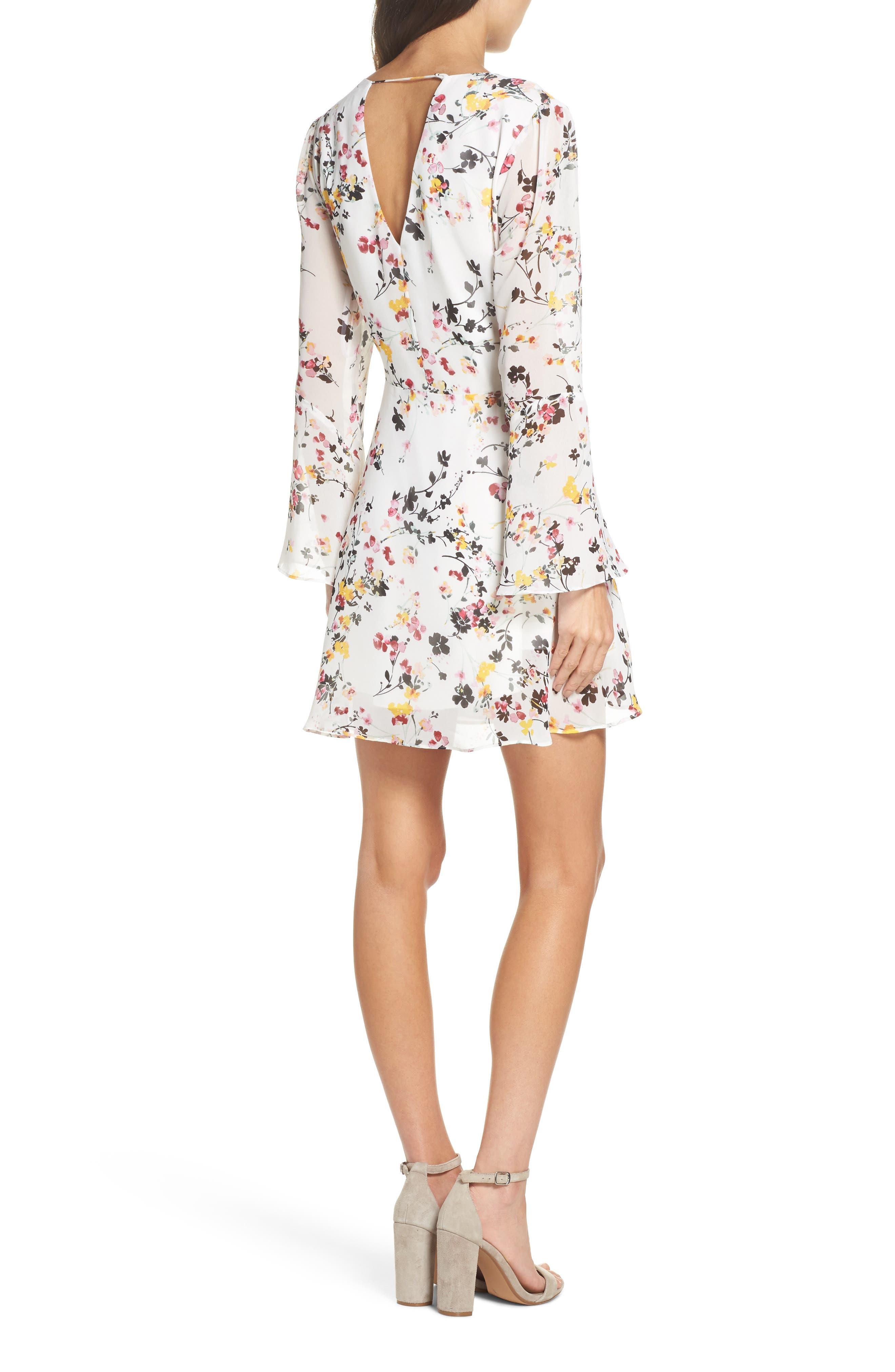Bell Sleeve A-Line Dress,                             Alternate thumbnail 2, color,                             WHITE MULTI