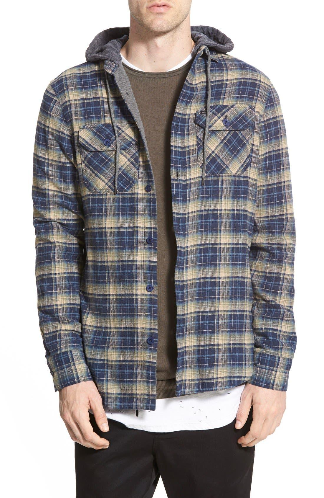 'Alford' Trim Fit Long Sleeve Plaid Hooded Shirt,                             Main thumbnail 2, color,