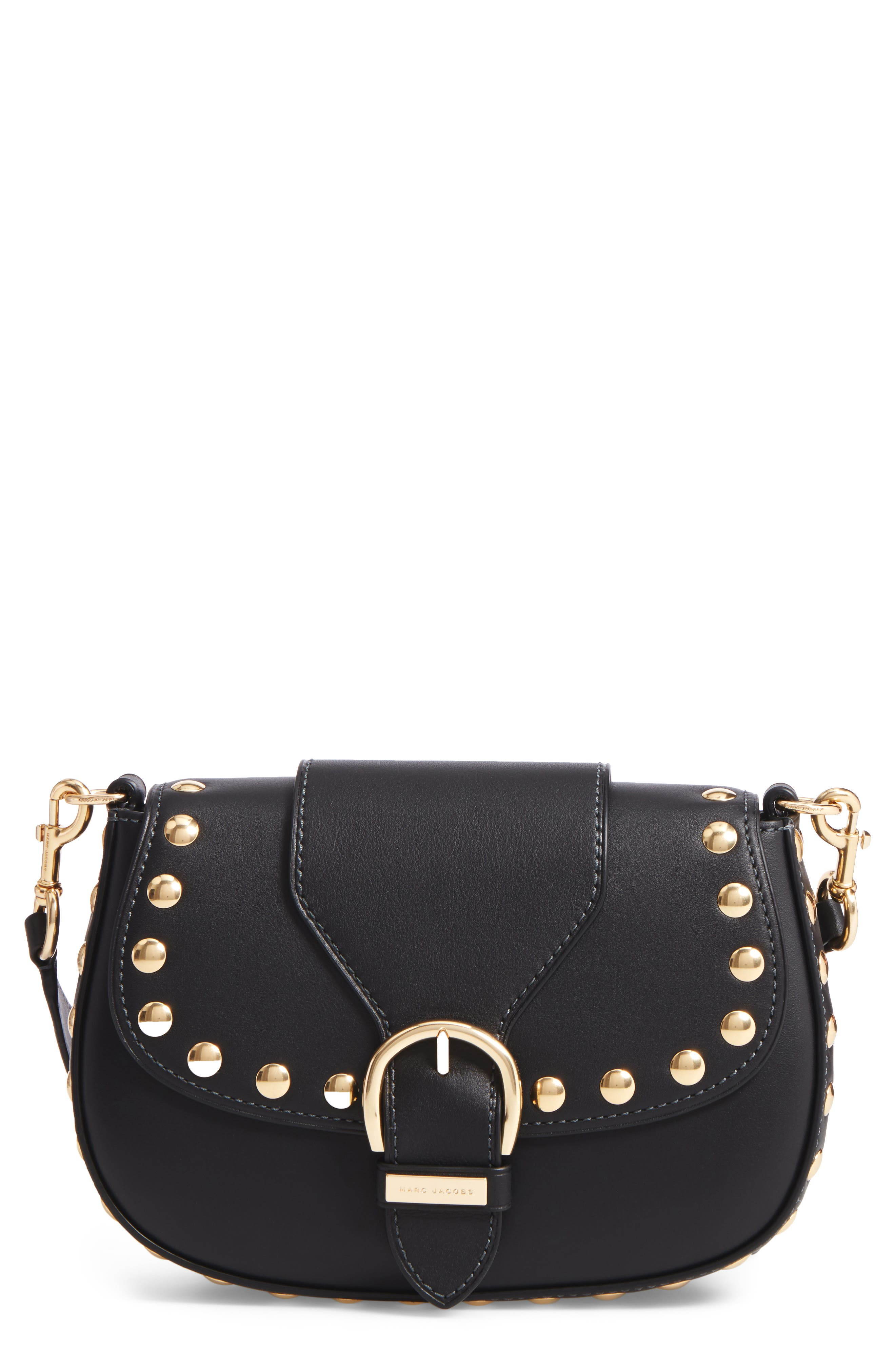 Studded Navigator Leather Crossbody Bag,                             Main thumbnail 1, color,                             001