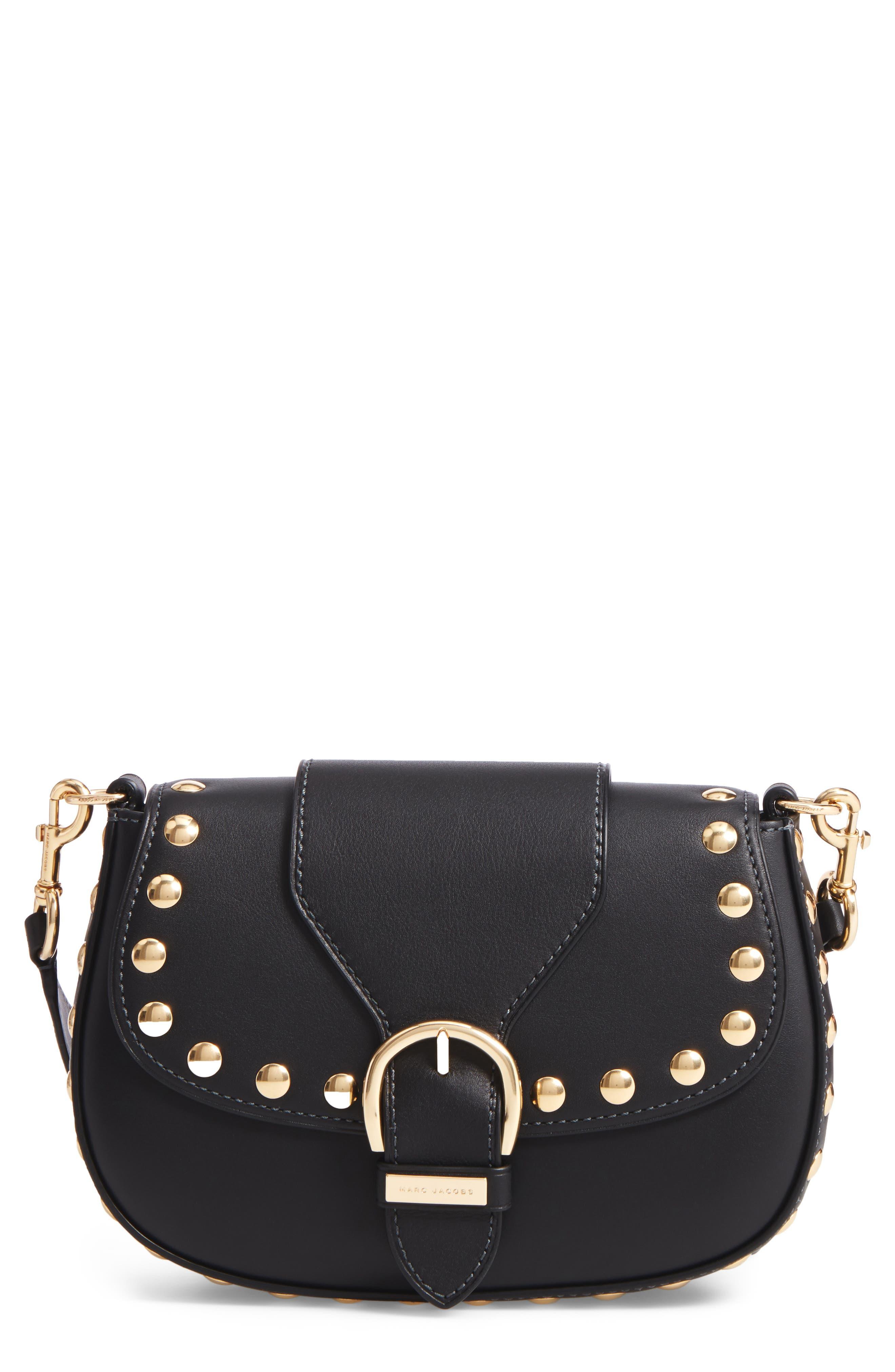 Studded Navigator Leather Crossbody Bag,                         Main,                         color, 001