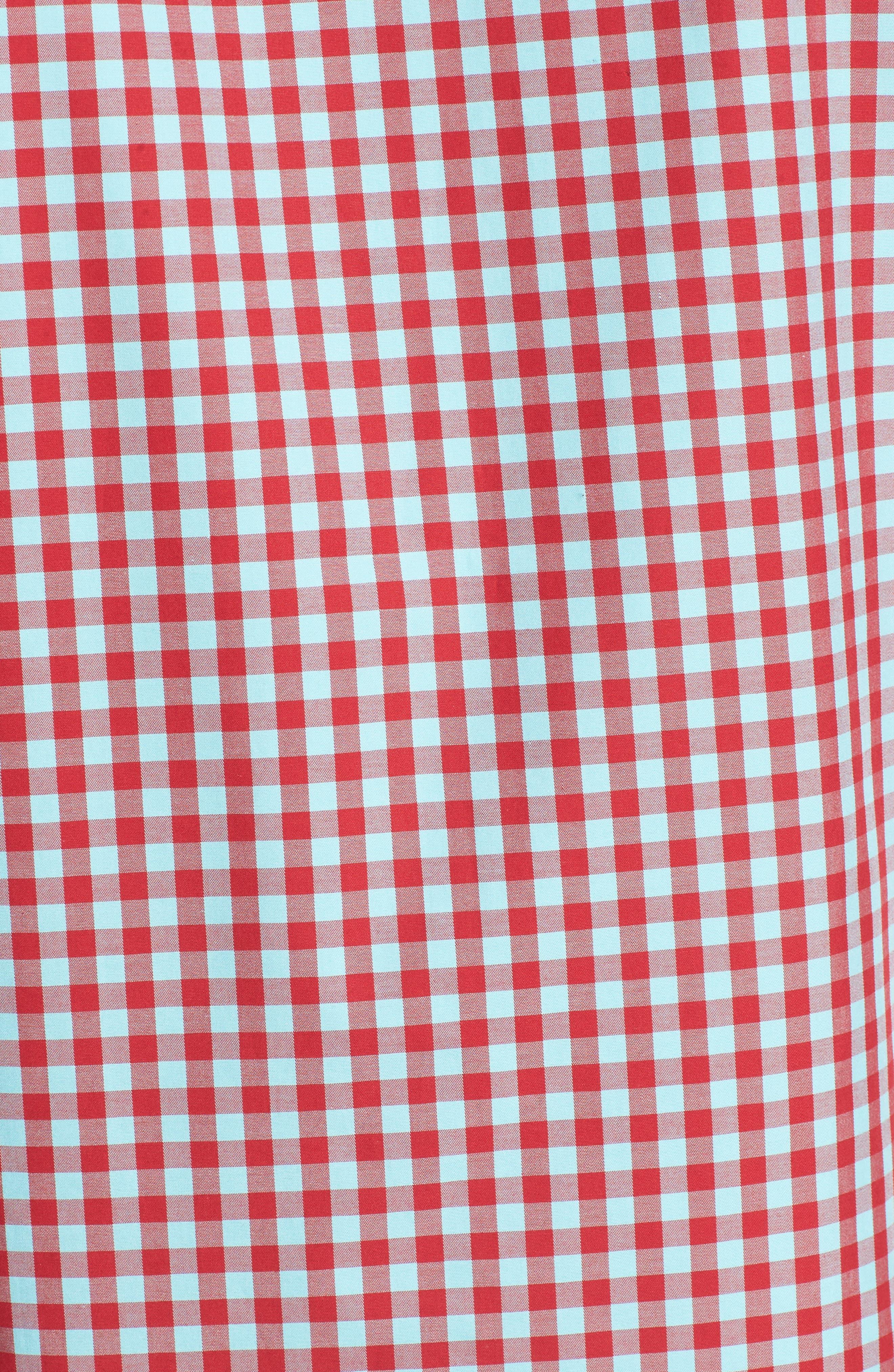 Shaped Fit Gingham Sport Shirt,                             Alternate thumbnail 5, color,