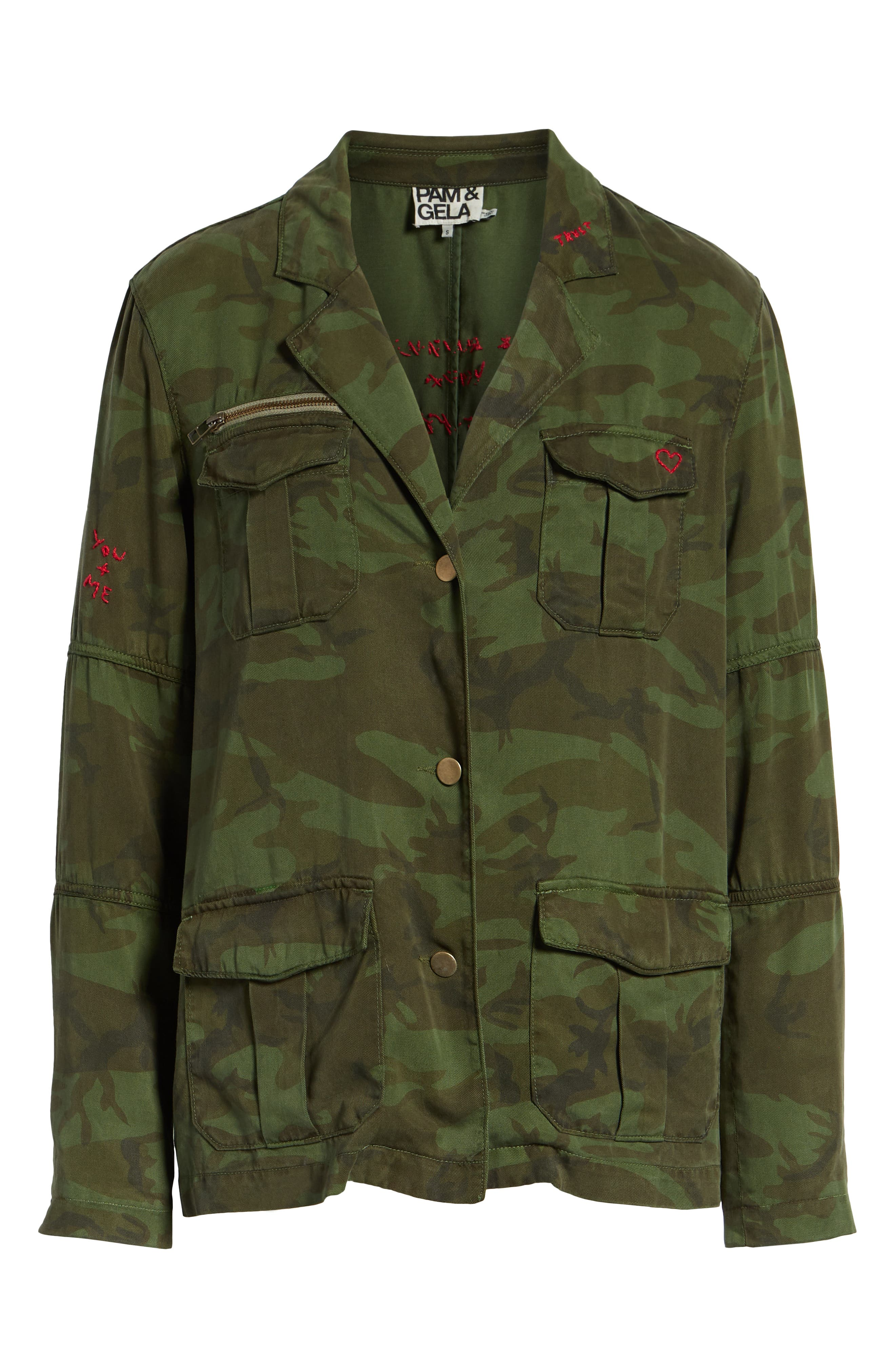 Contrast Cuff Camo Jacket,                             Alternate thumbnail 6, color,                             ARMY CAMO