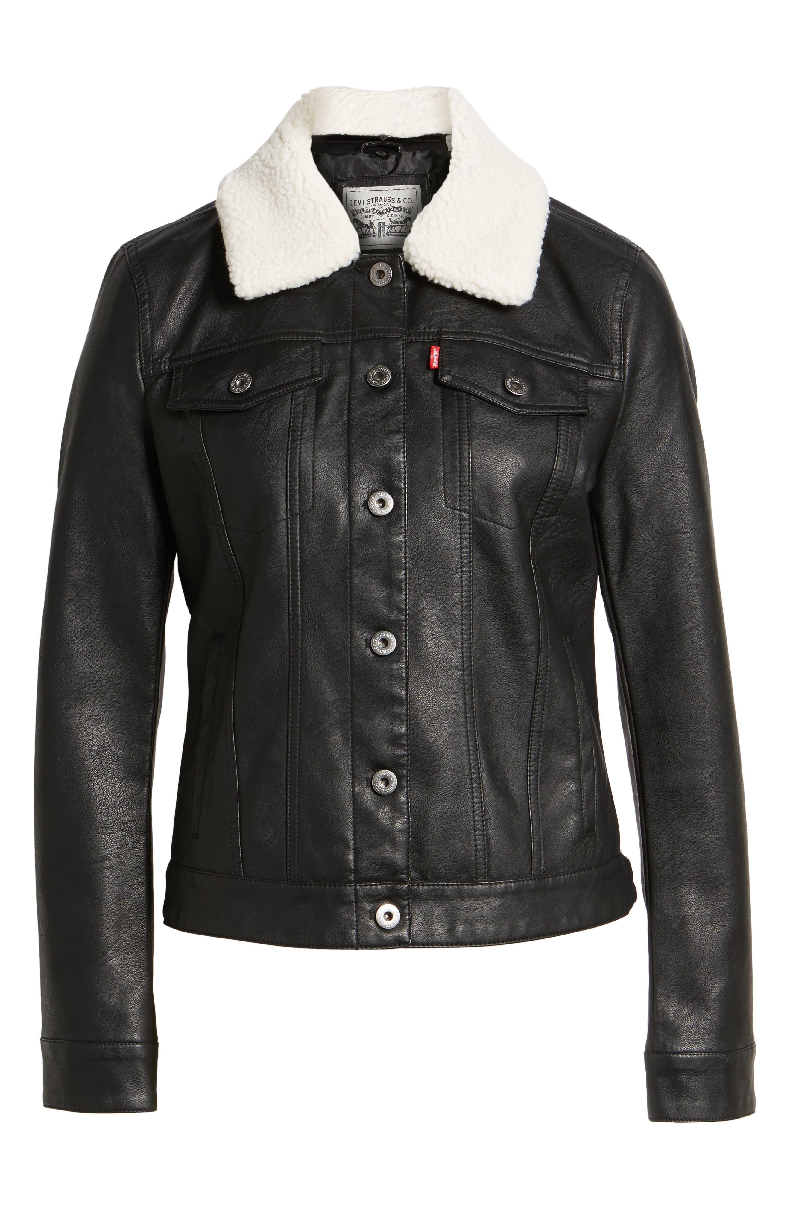 Faux Leather Jacket with Detachable Faux Fur,                             Alternate thumbnail 5, color,
