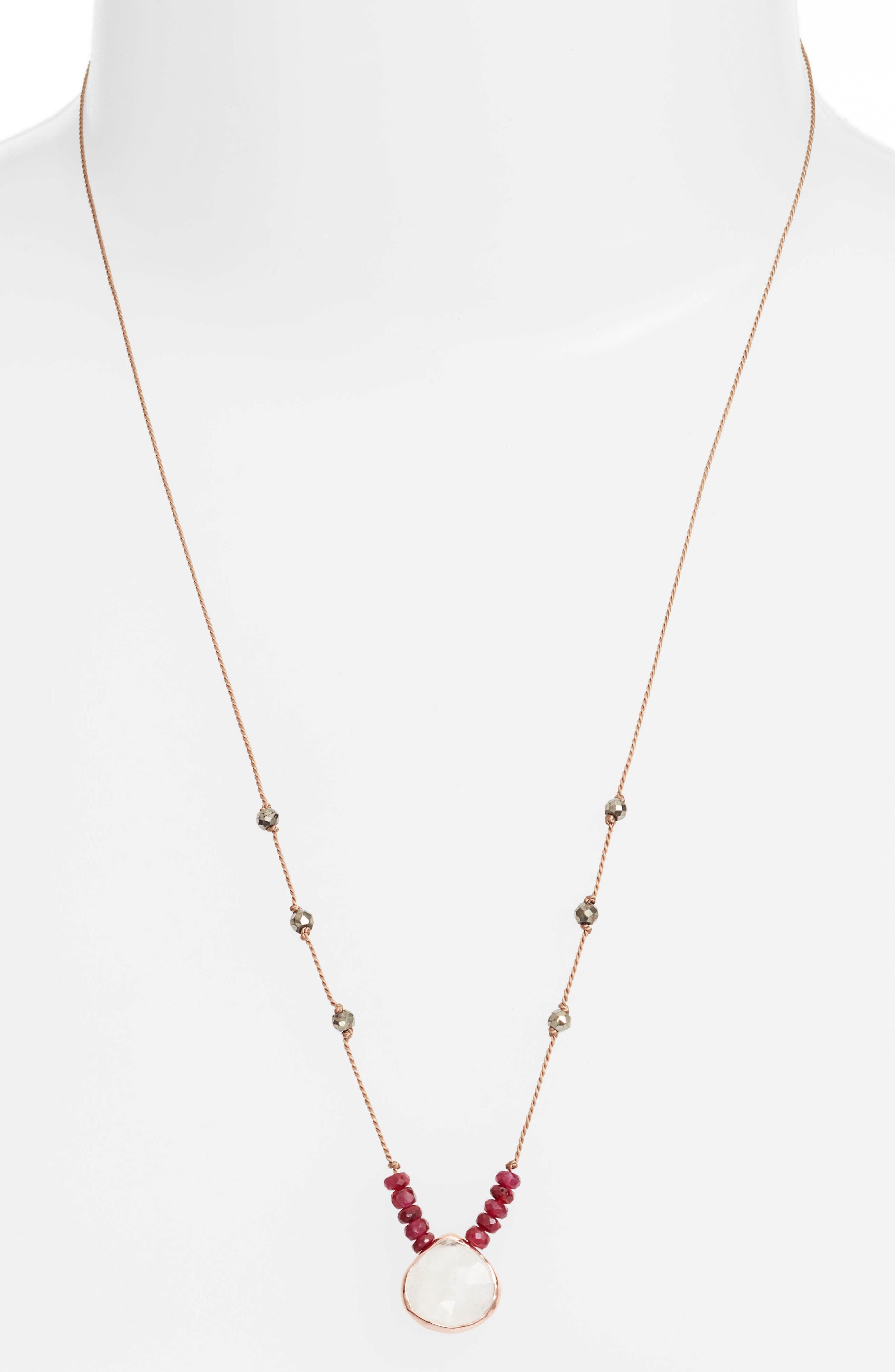 Sylvie Semiprecious Stone Necklace,                             Alternate thumbnail 2, color,                             MOONSTONE