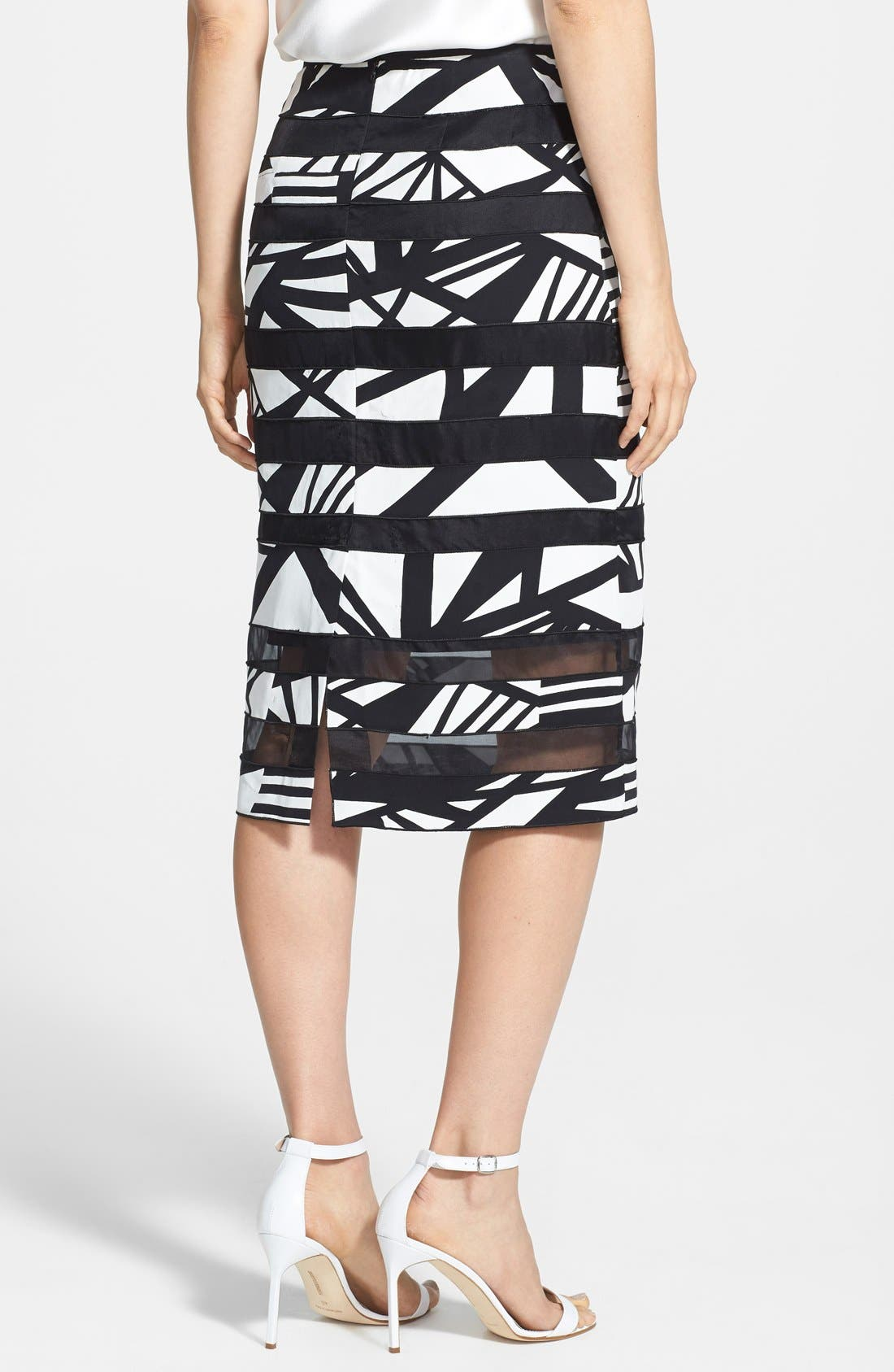 'Modmix' Print Silk Pencil Skirt,                             Alternate thumbnail 2, color,