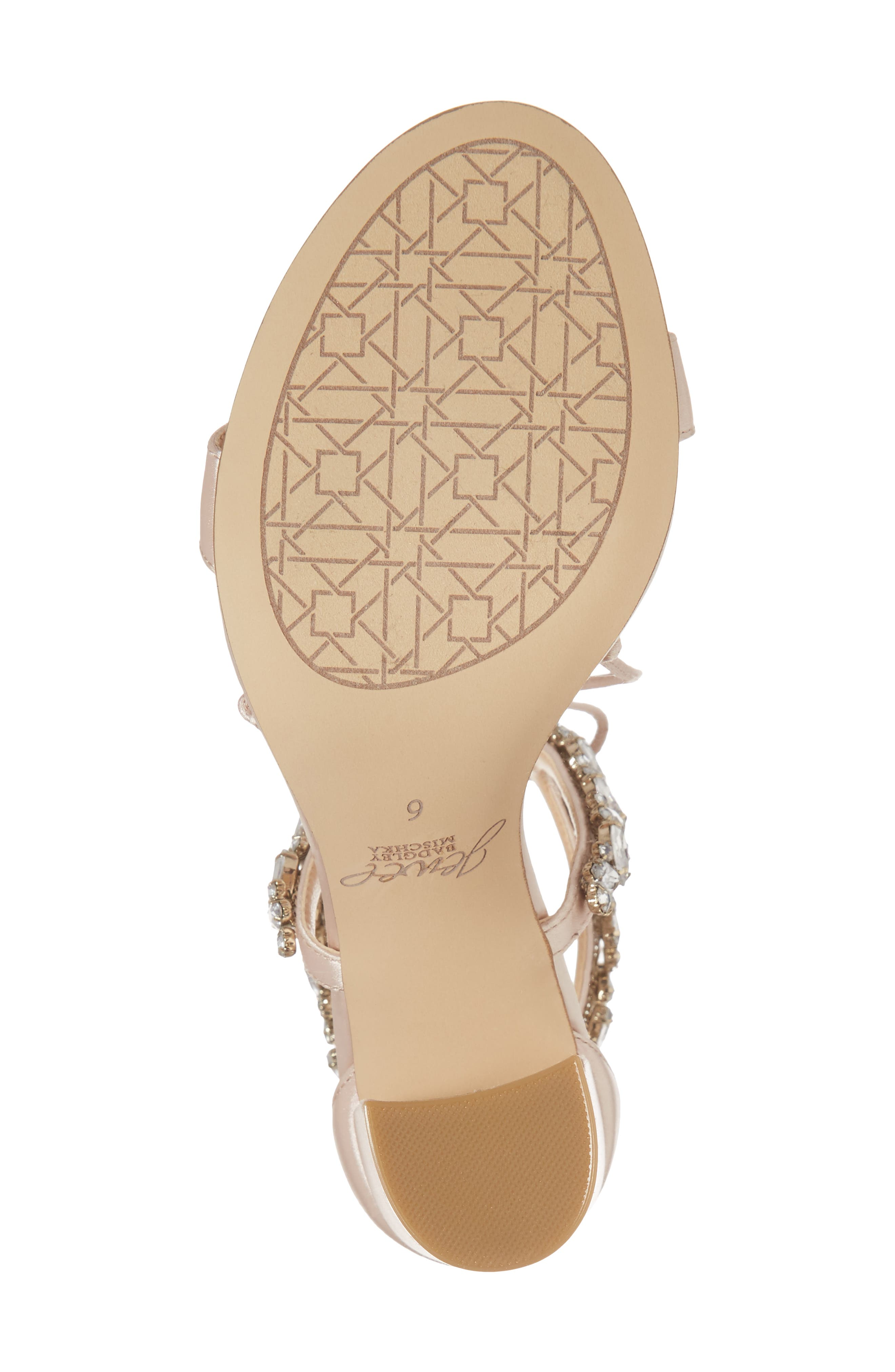 JEWEL BADGLEY MISCHKA,                             Thamar Embellished Sandal,                             Alternate thumbnail 6, color,                             CHAMPAGNE SATIN