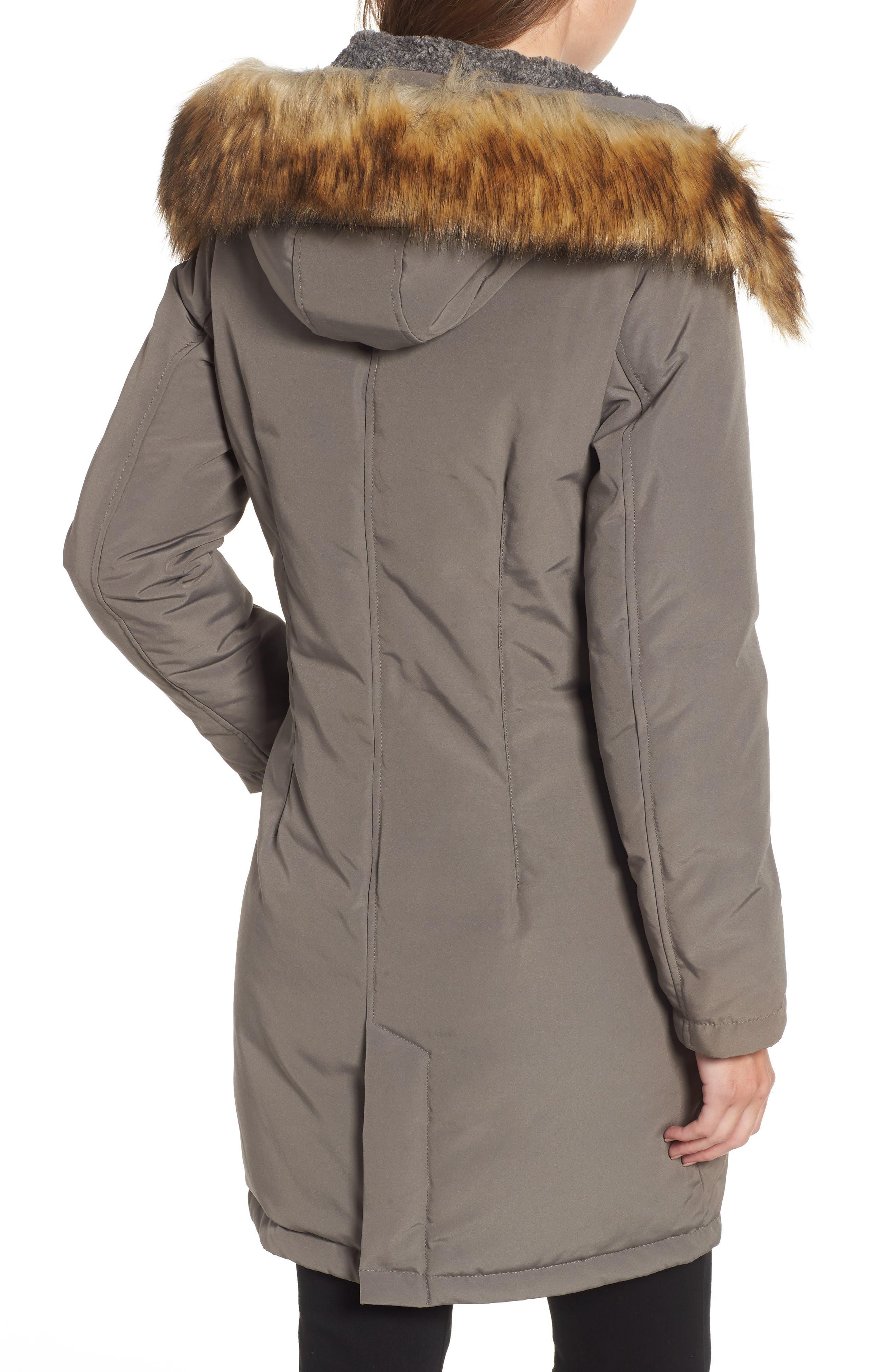 Faux Fur Trim Down Jacket,                             Alternate thumbnail 2, color,                             LIGHT GREY