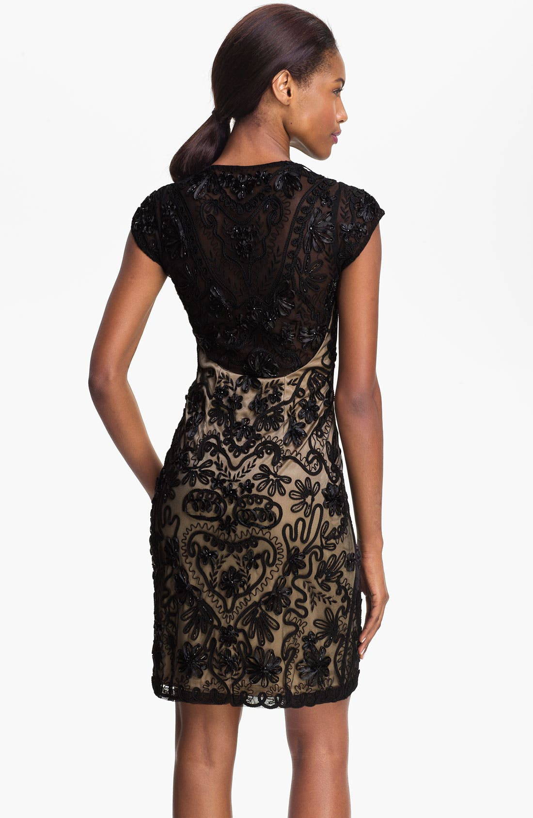 Embellished Illusion Back Sheath Dress,                             Alternate thumbnail 2, color,                             001