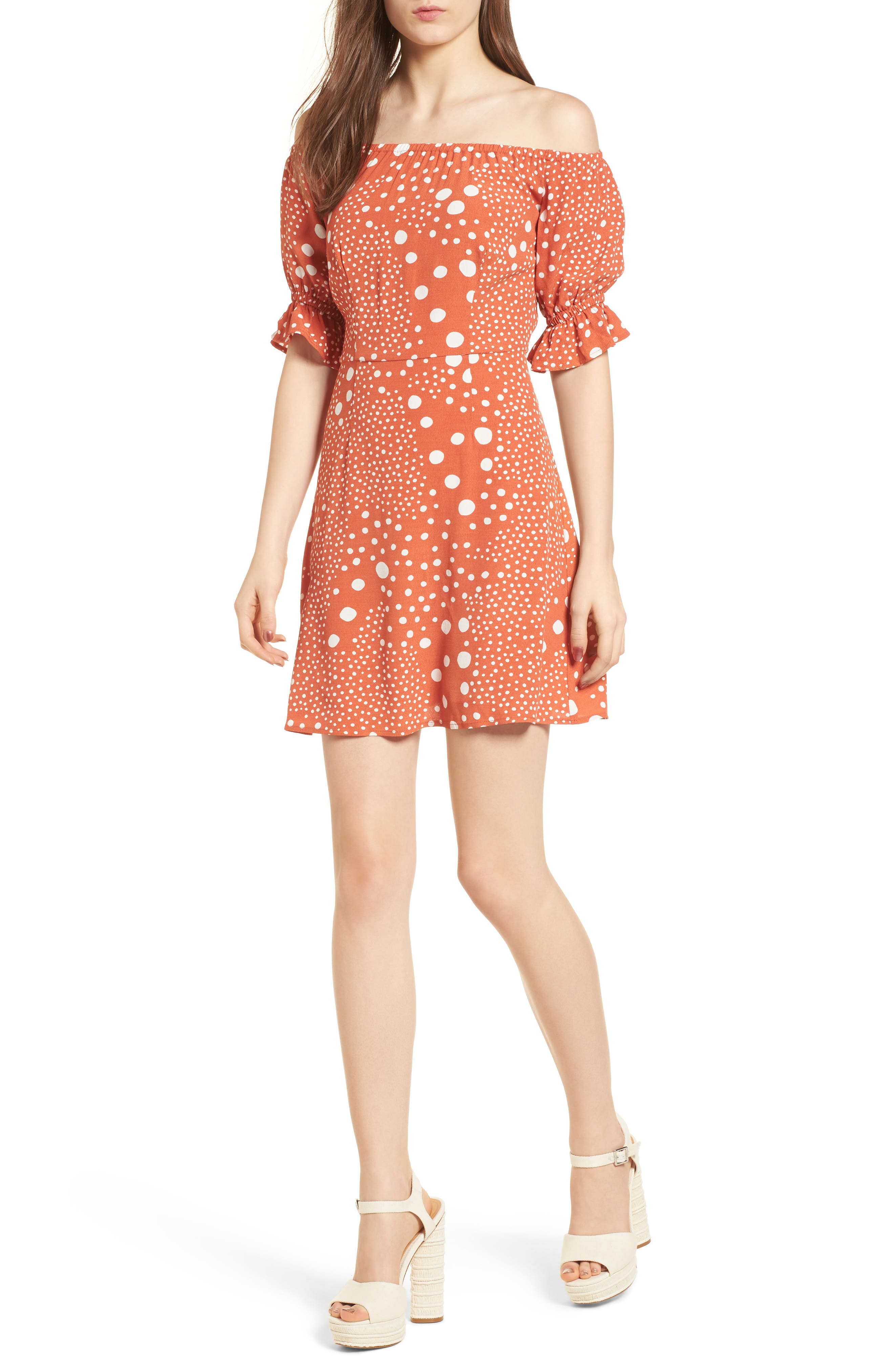 Peppers Polka Dot Off the Shoulder Dress,                             Main thumbnail 1, color,                             RUST PEBBLE