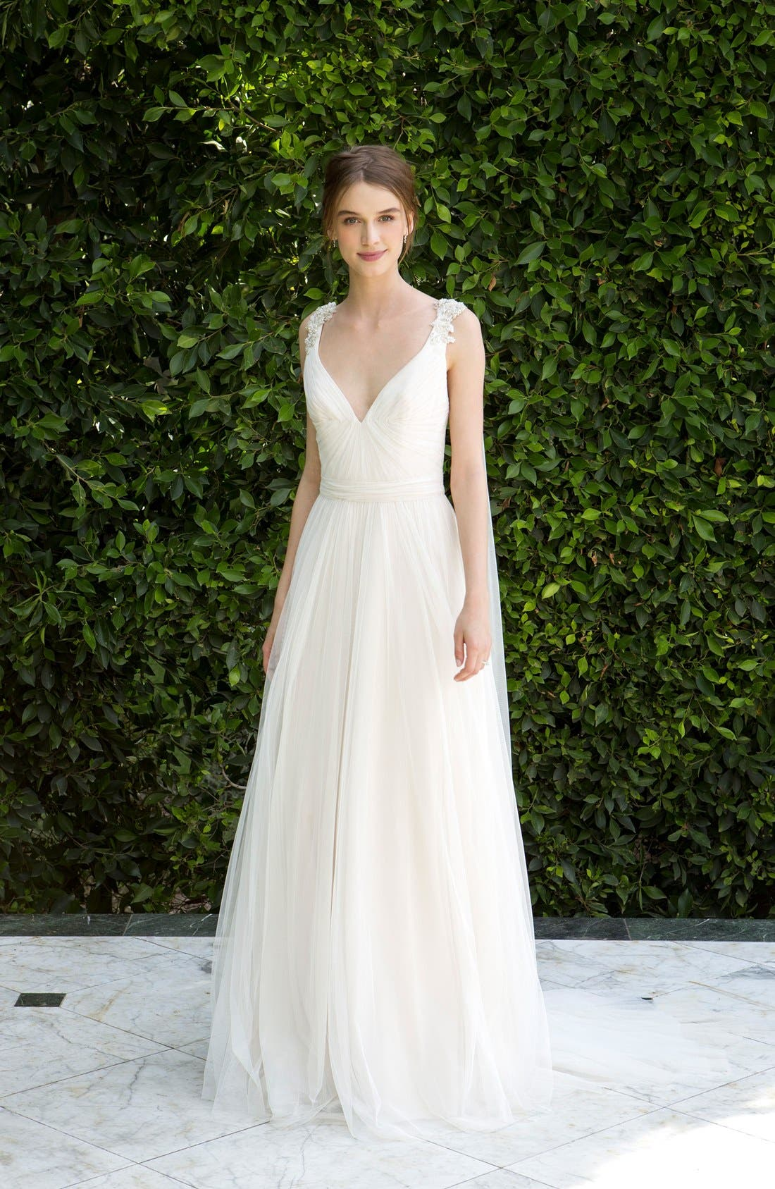 Beaded Soft Tulle Dress with Tails,                             Alternate thumbnail 3, color,                             904