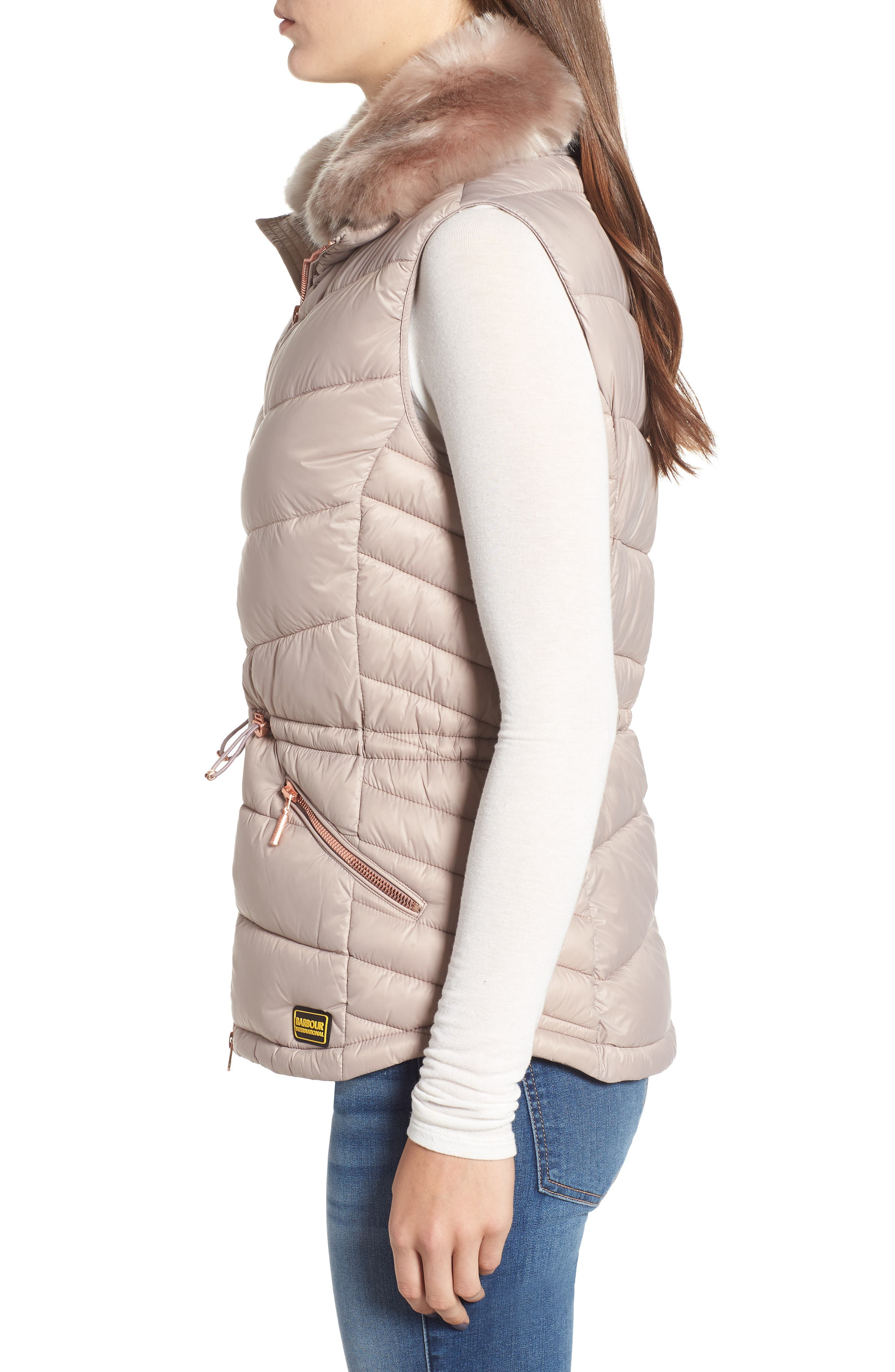 Victory Cinch Waist Chevron Quilted Gilet with Removable Faux Fur Collar,                             Alternate thumbnail 3, color,                             LATTE