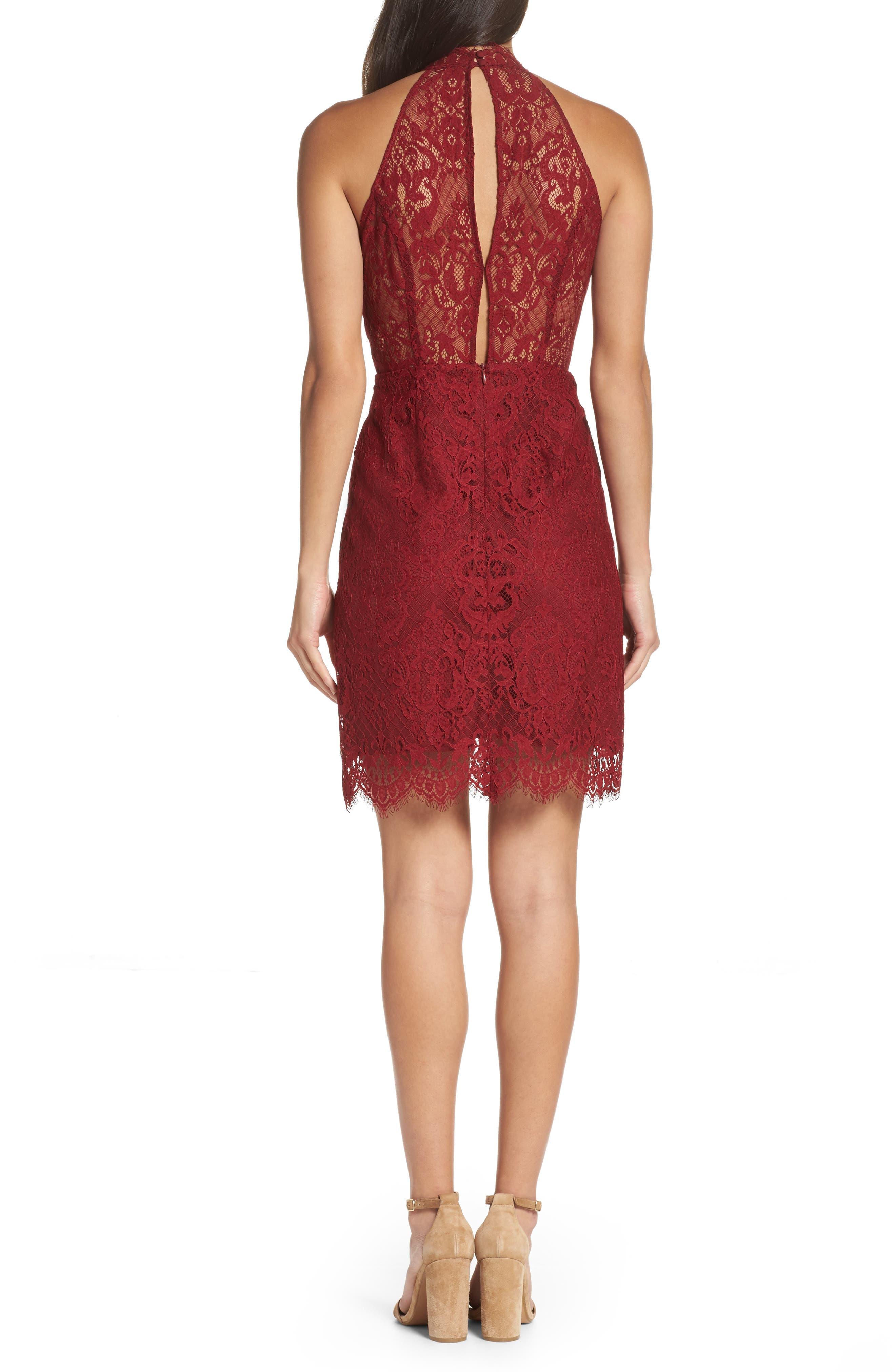 Cherie Lace Halter Sheath Dress,                             Alternate thumbnail 4, color,
