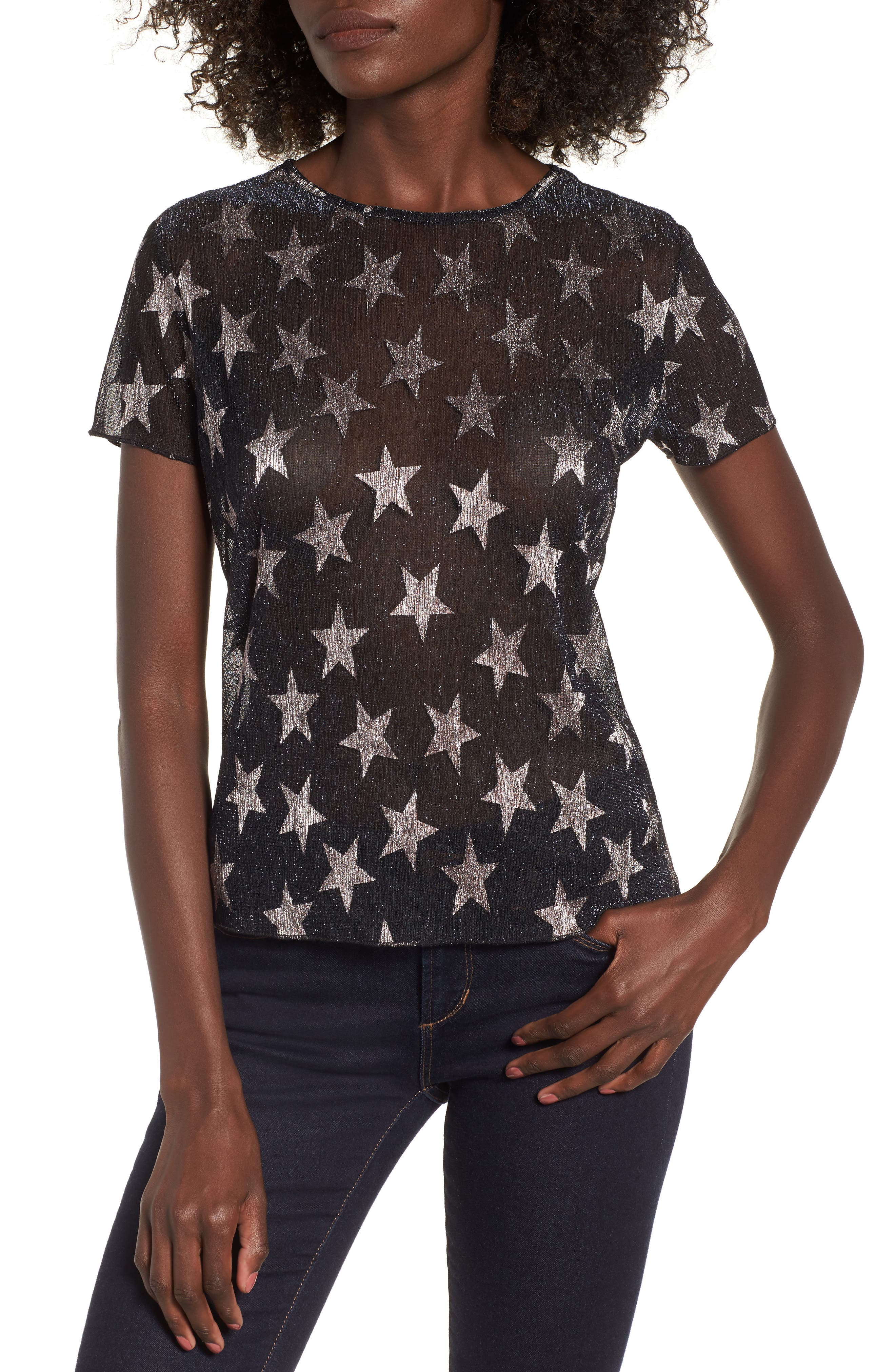 Metallic Star Tee,                             Main thumbnail 1, color,                             001