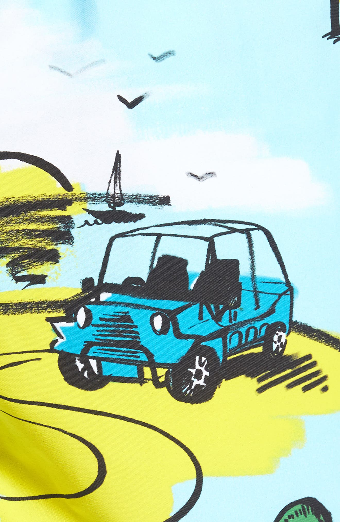 Moorea Mini Moke Print Swim Trunks,                             Alternate thumbnail 5, color,                             FROSTED BLUE