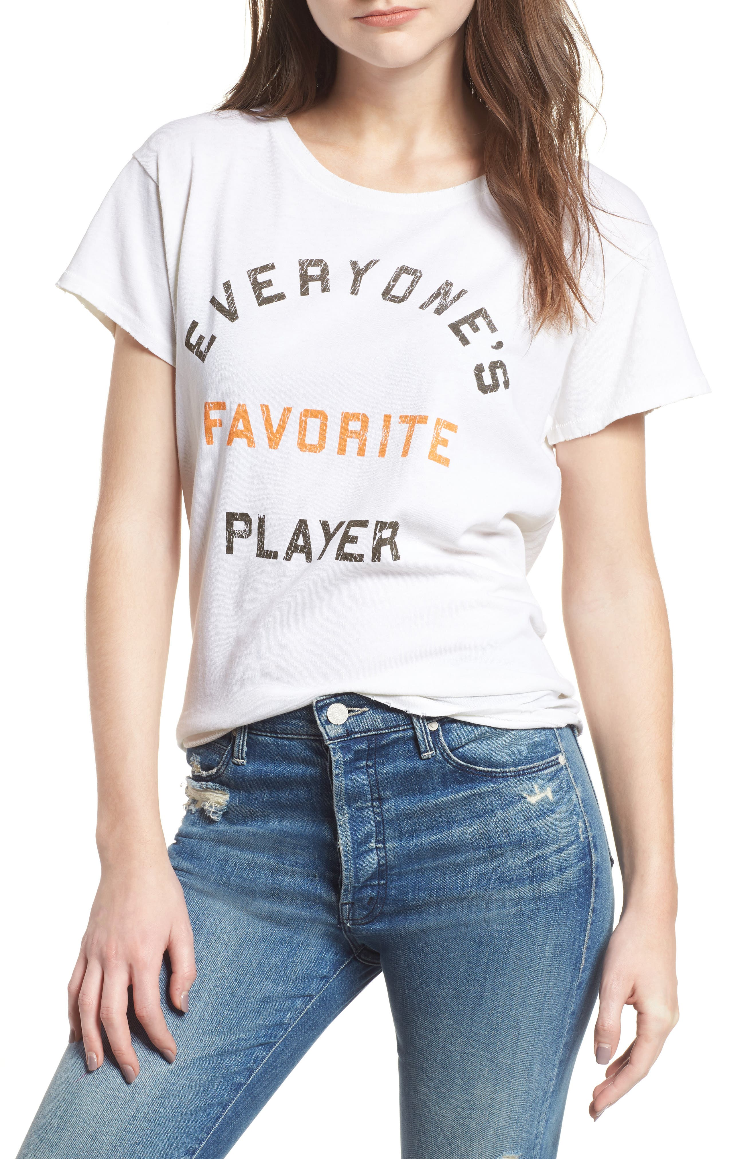 Everyone's Favorite Player Tee,                             Main thumbnail 1, color,                             VINTAGE WHITE ORANGE BLACK