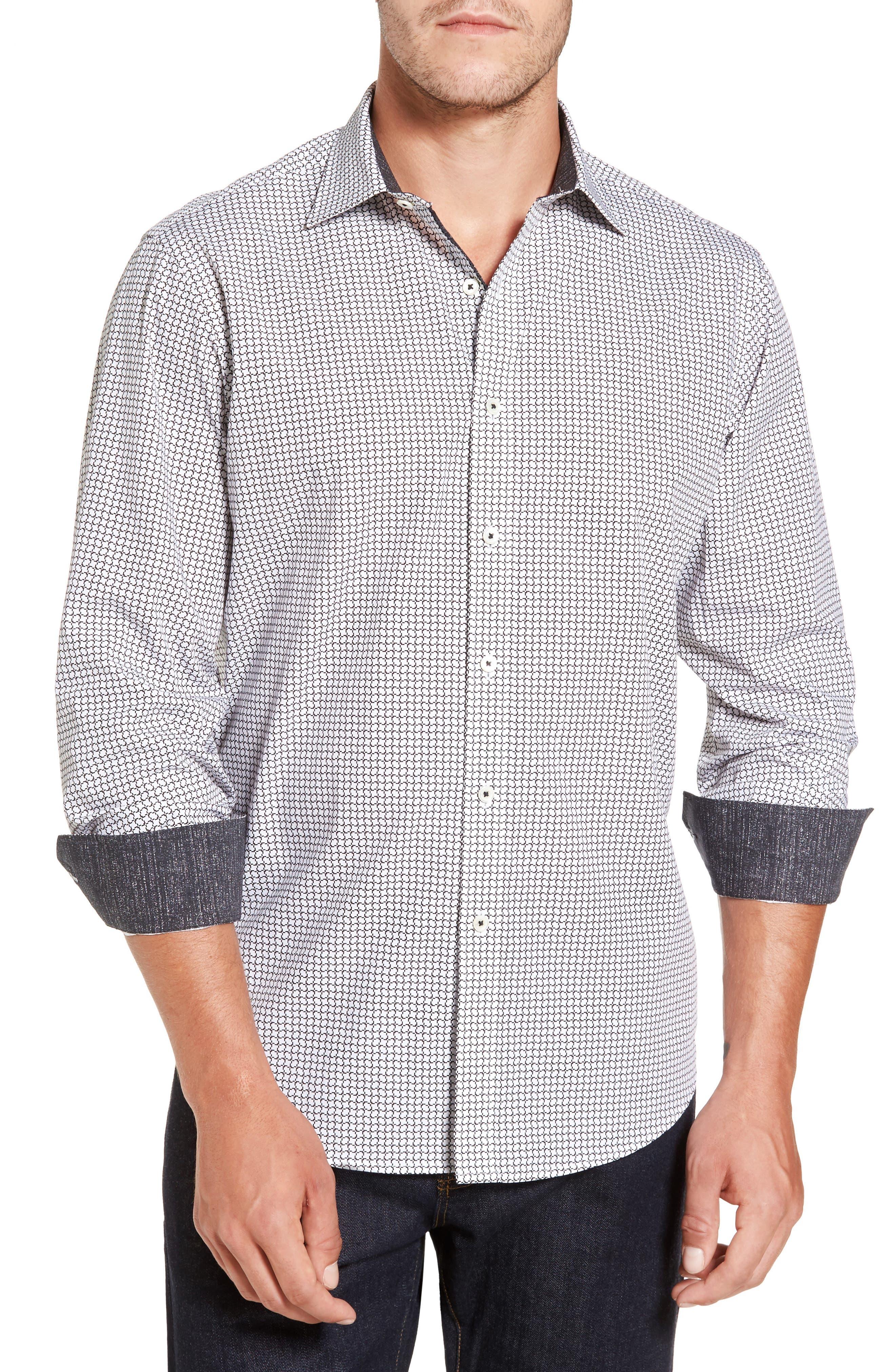 Classic Fit Print Sport Shirt,                         Main,                         color, 100