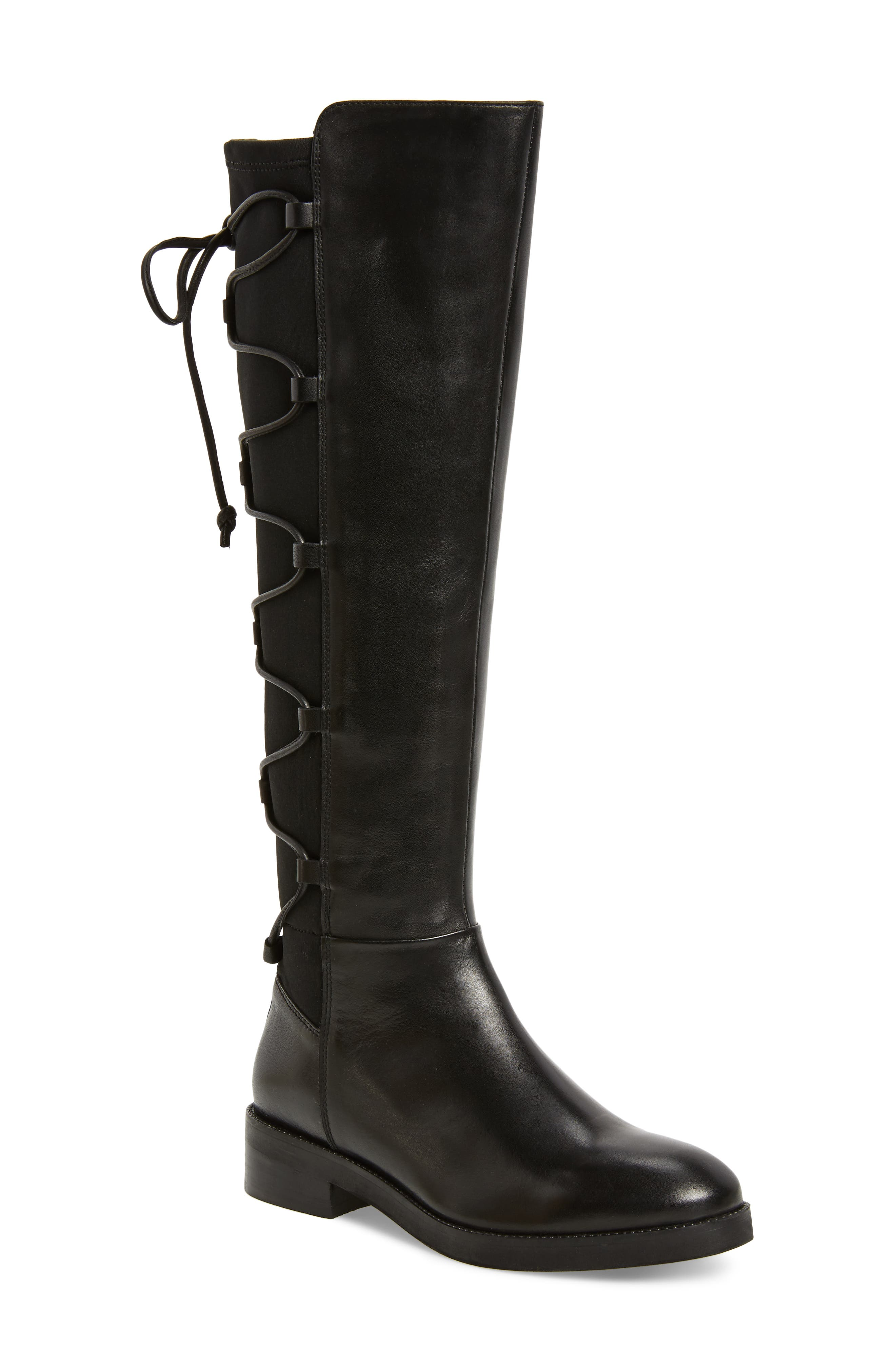 Dramatic Stretch Back Riding Boot,                         Main,                         color, 001