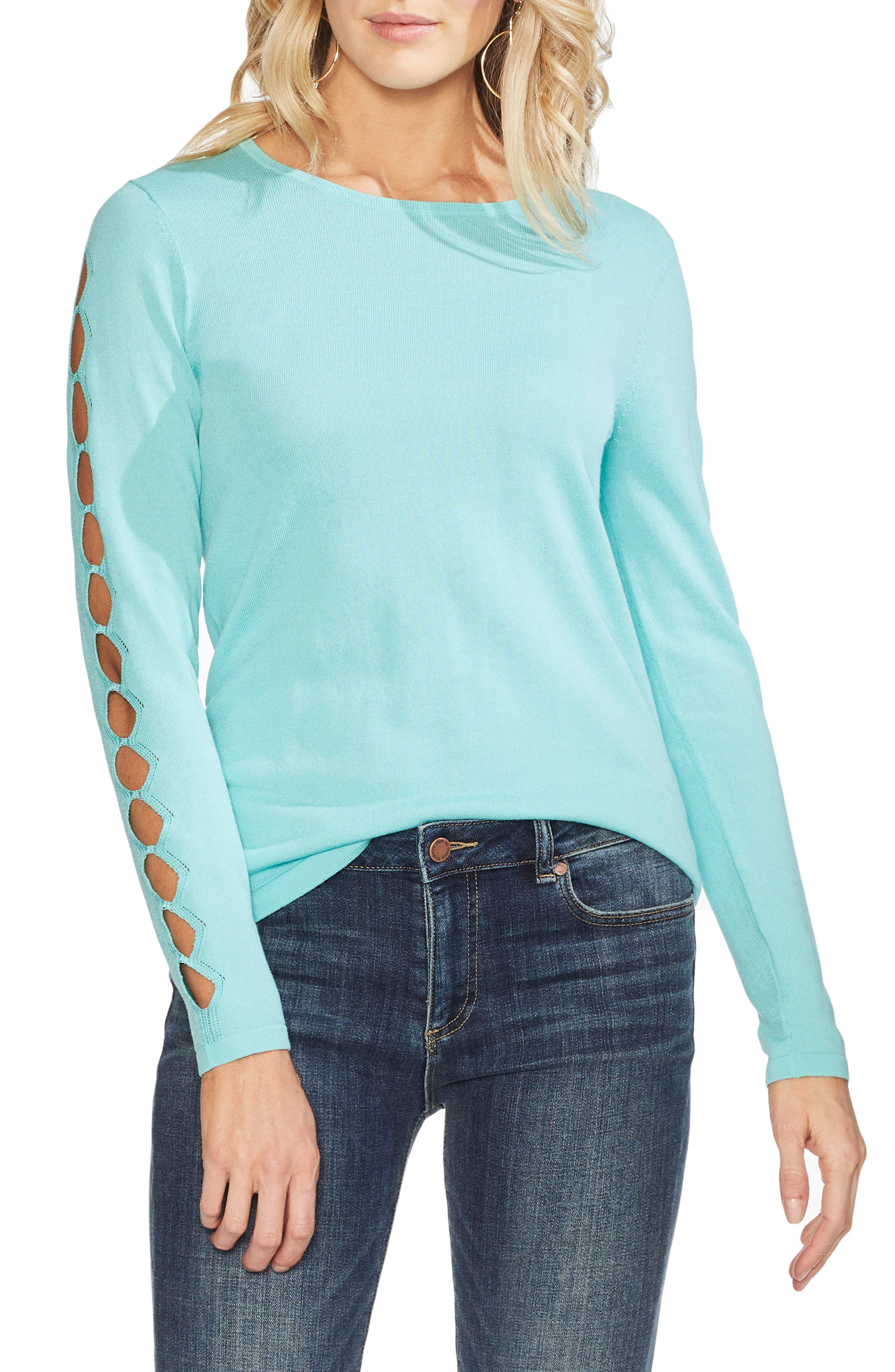 Vince Camuto Cutout Sleeve Sweater, Blue