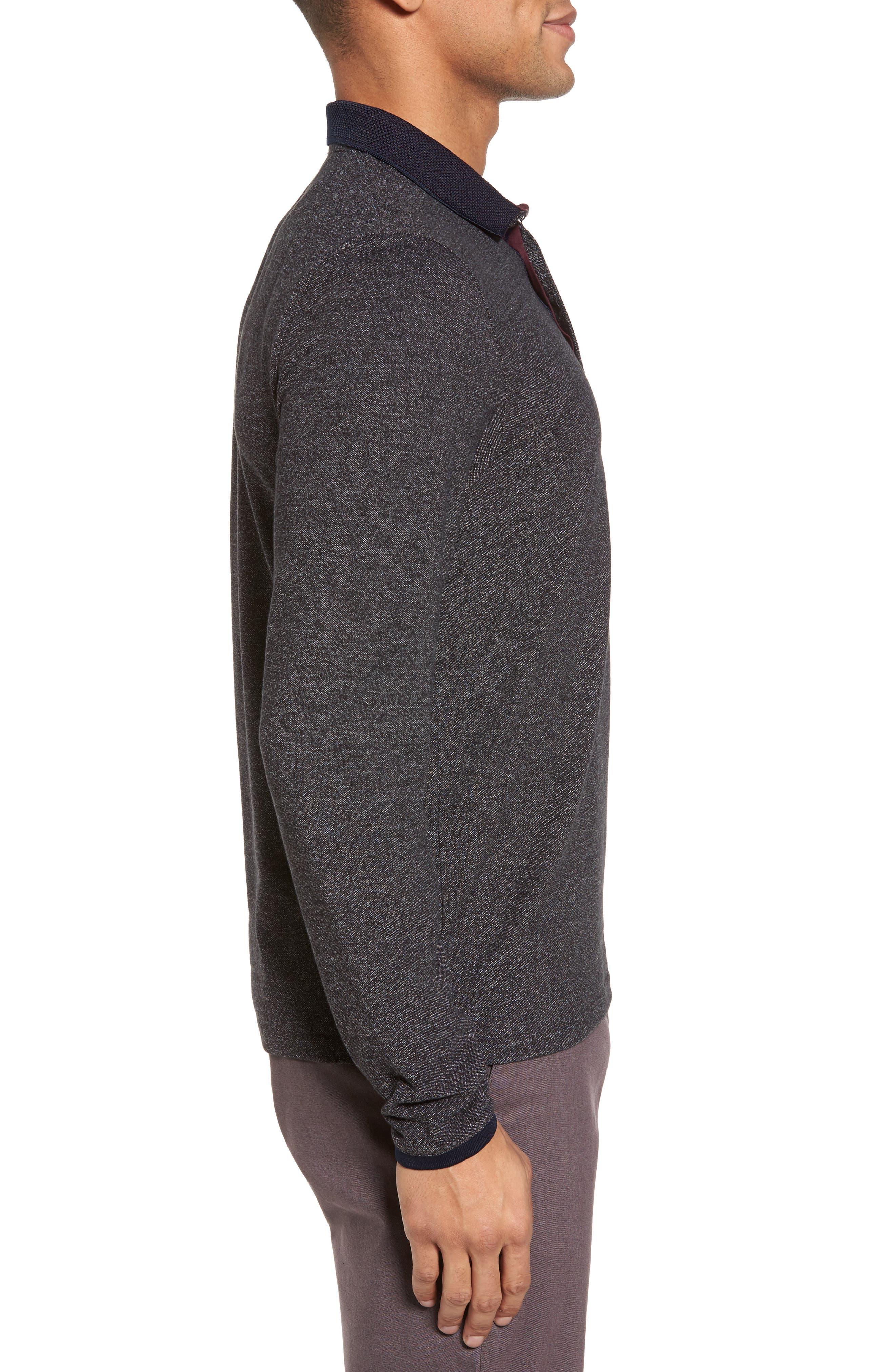 Chella Trim Fit Long Sleeve Polo,                             Alternate thumbnail 3, color,                             010