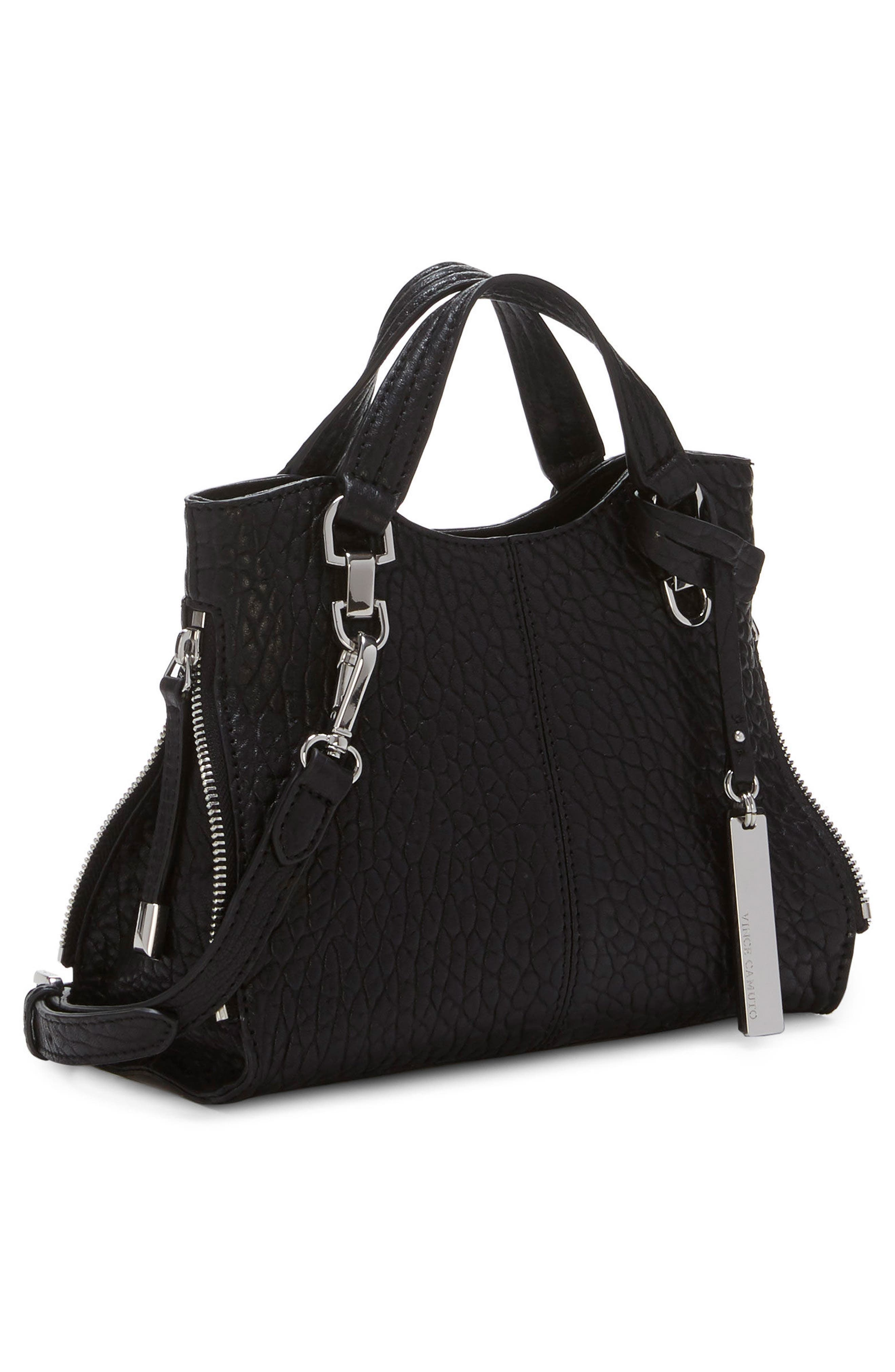 Small Riley Leather Tote,                             Alternate thumbnail 4, color,                             001