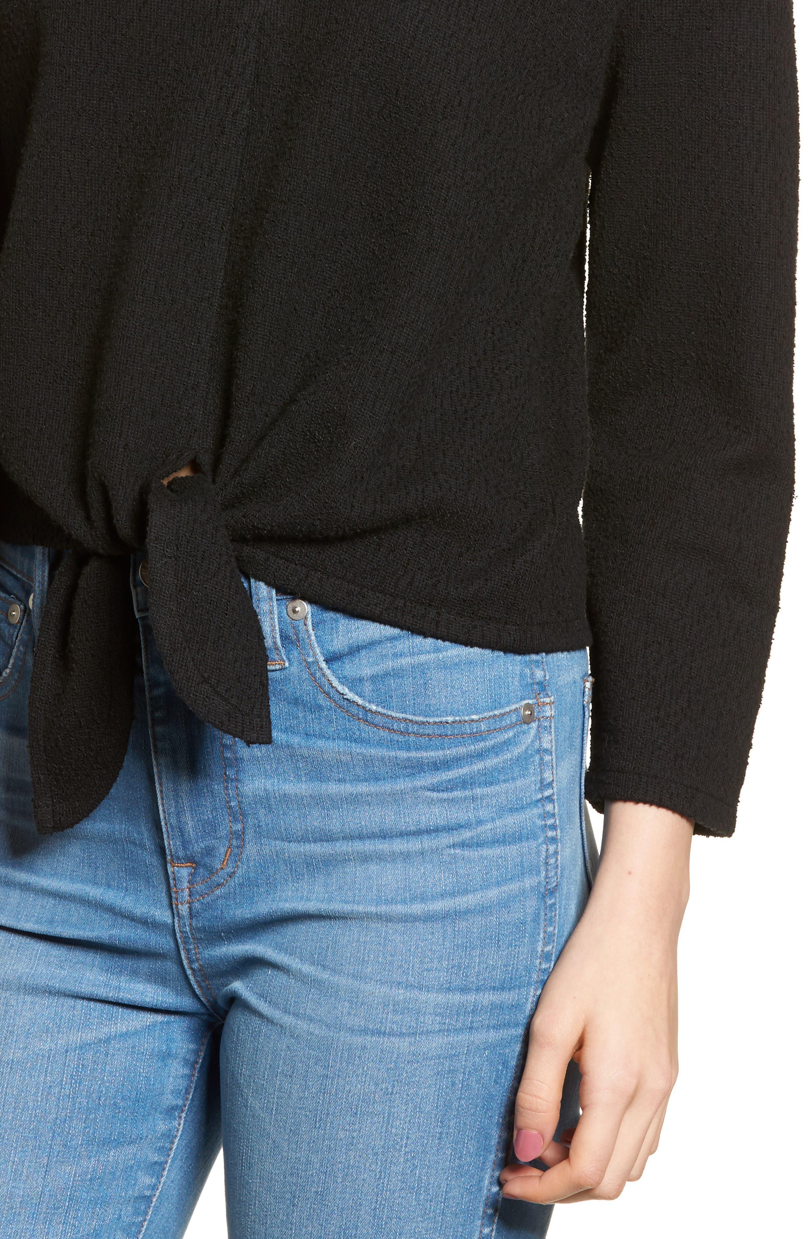 Textured Tie Front Top,                             Alternate thumbnail 4, color,                             TRUE BLACK