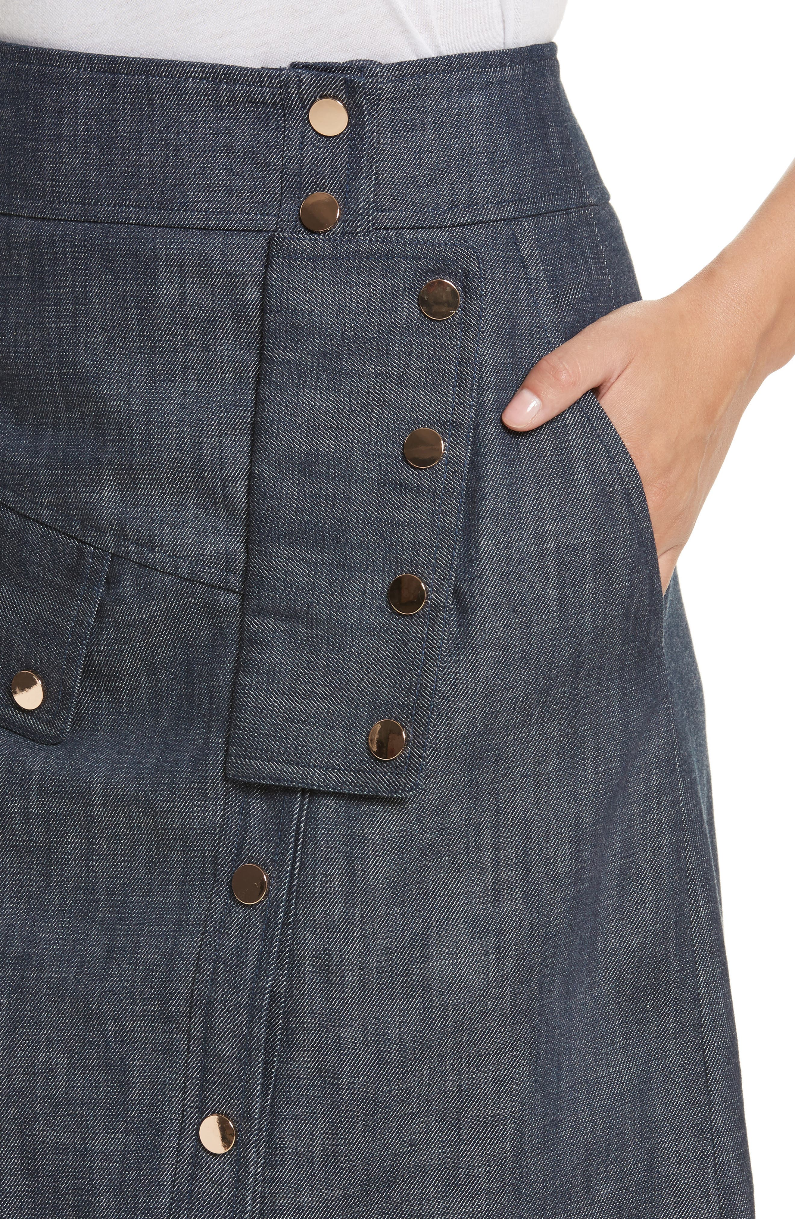 Snap Front Raw Denim Skirt,                             Alternate thumbnail 4, color,                             400