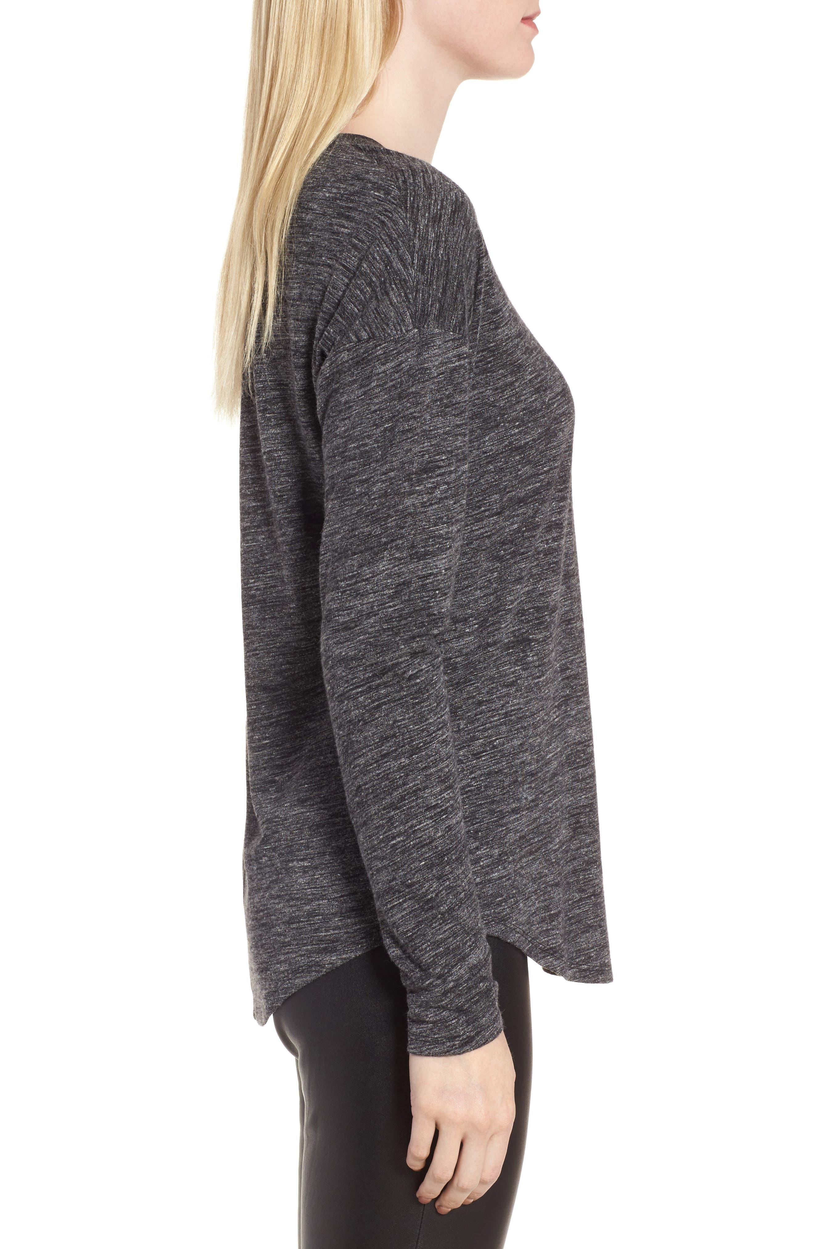 Long Sleeve Knit Tee,                             Alternate thumbnail 3, color,                             001