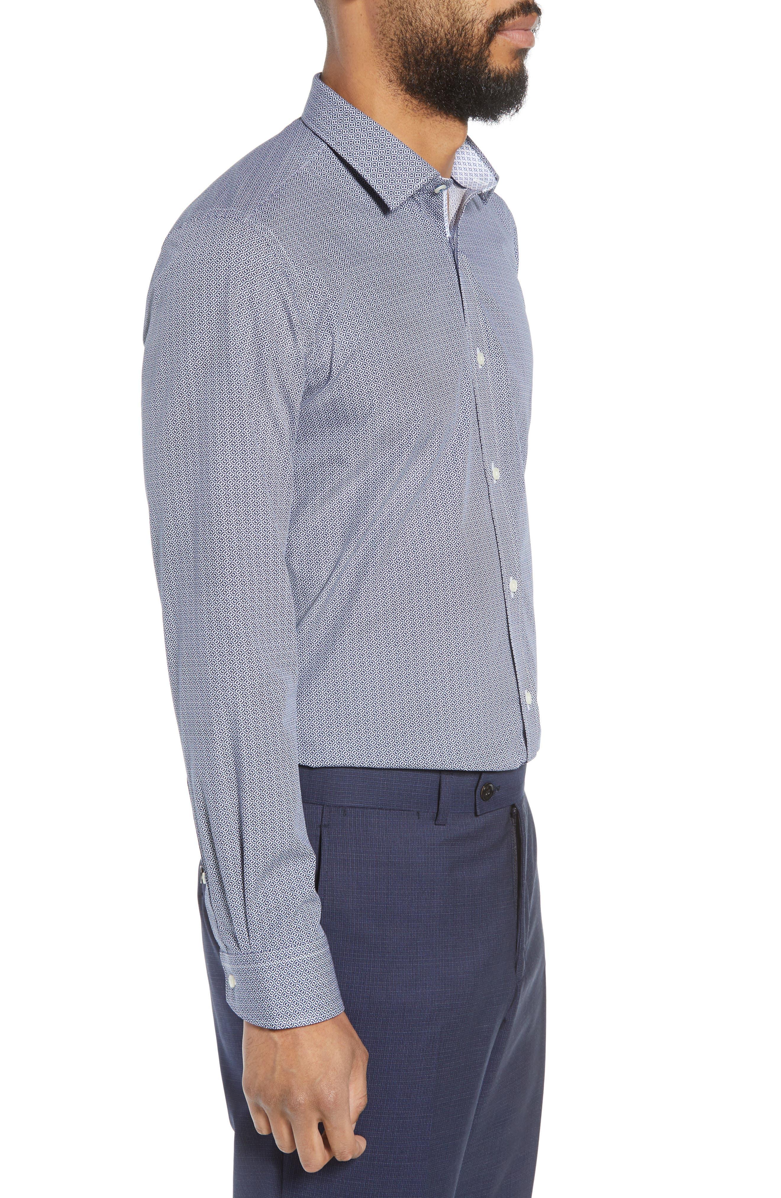 Footz Slim Fit Geometric Dress Shirt,                             Alternate thumbnail 4, color,                             NAVY