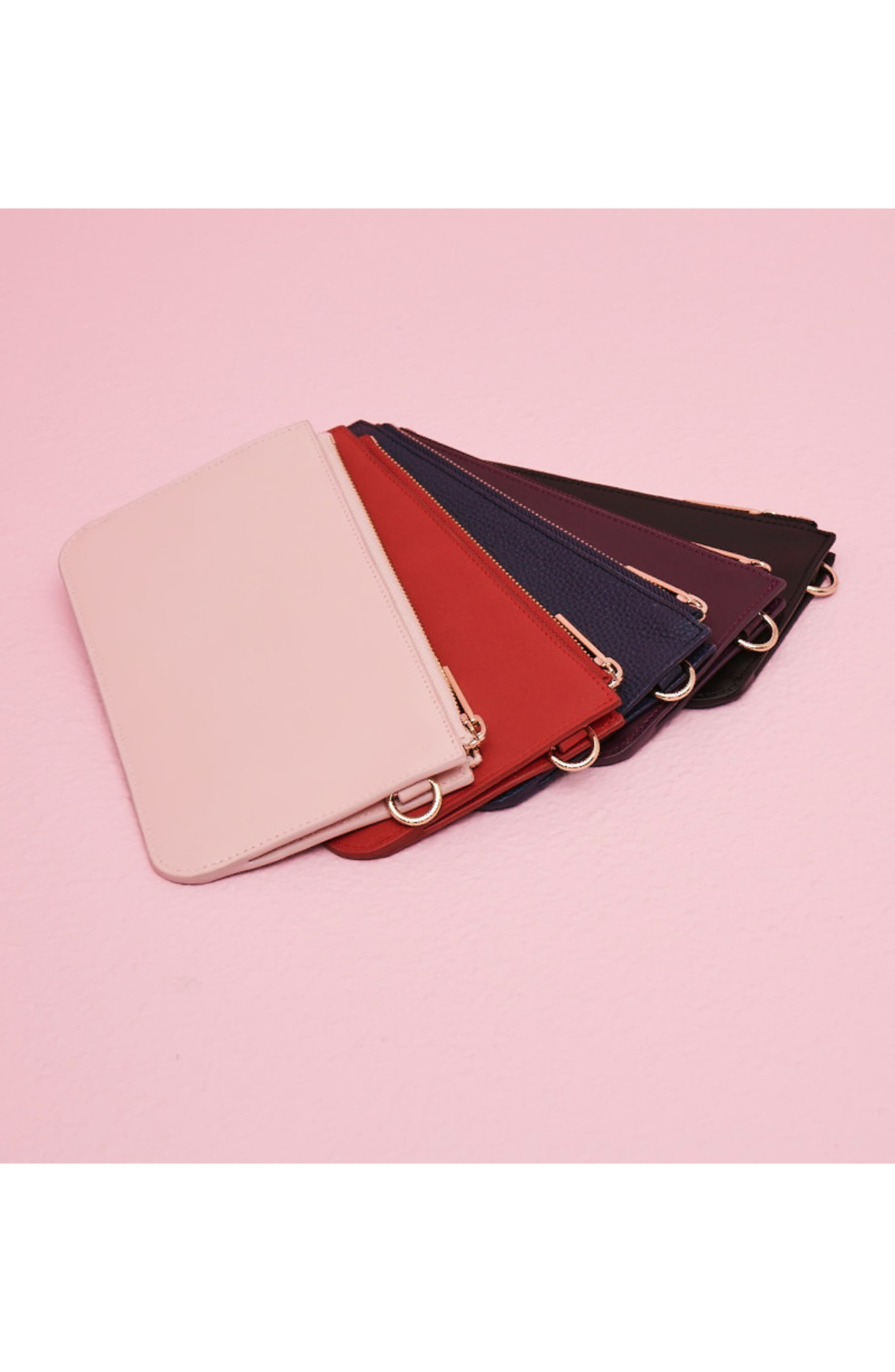 Leather Zip Pouch,                             Alternate thumbnail 2, color,                             001