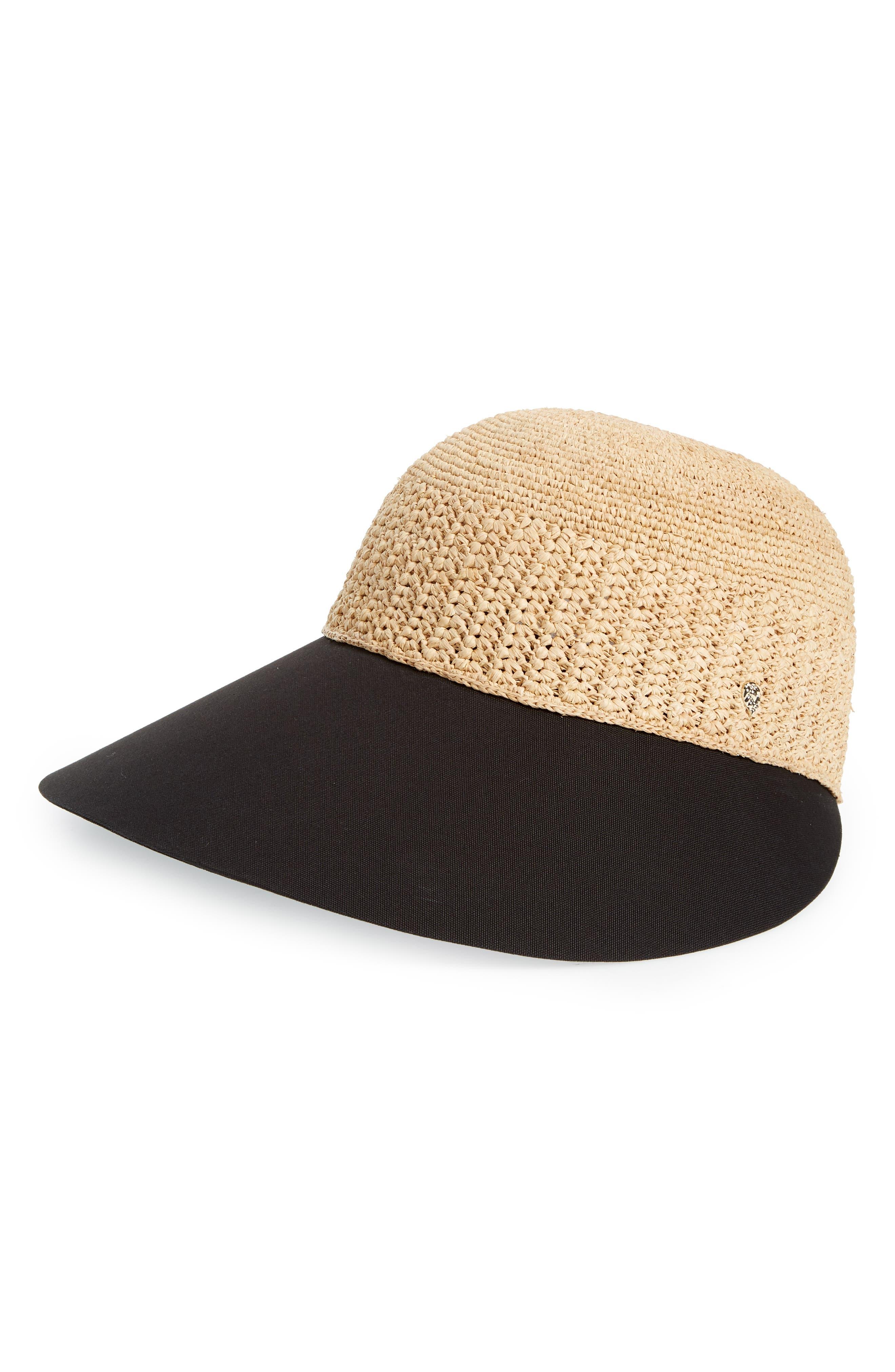 Wide Peak Raffia & Cotton Cap,                         Main,                         color, NATURAL/ BLACK