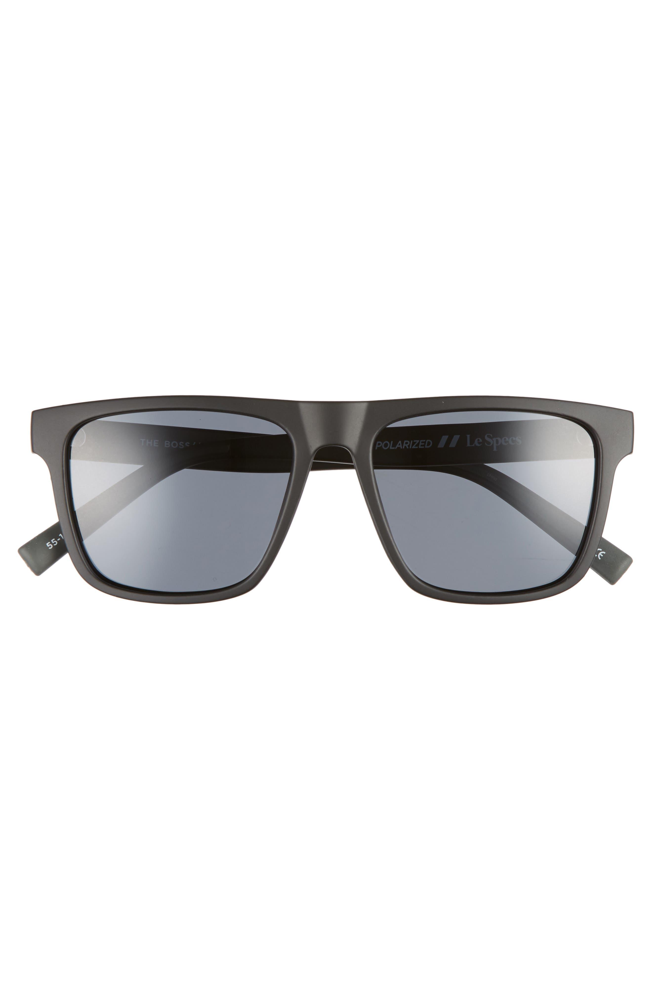 The Boss 55mm Rectangle Polarized Sunglasses,                             Alternate thumbnail 3, color,                             MATTE BLACK