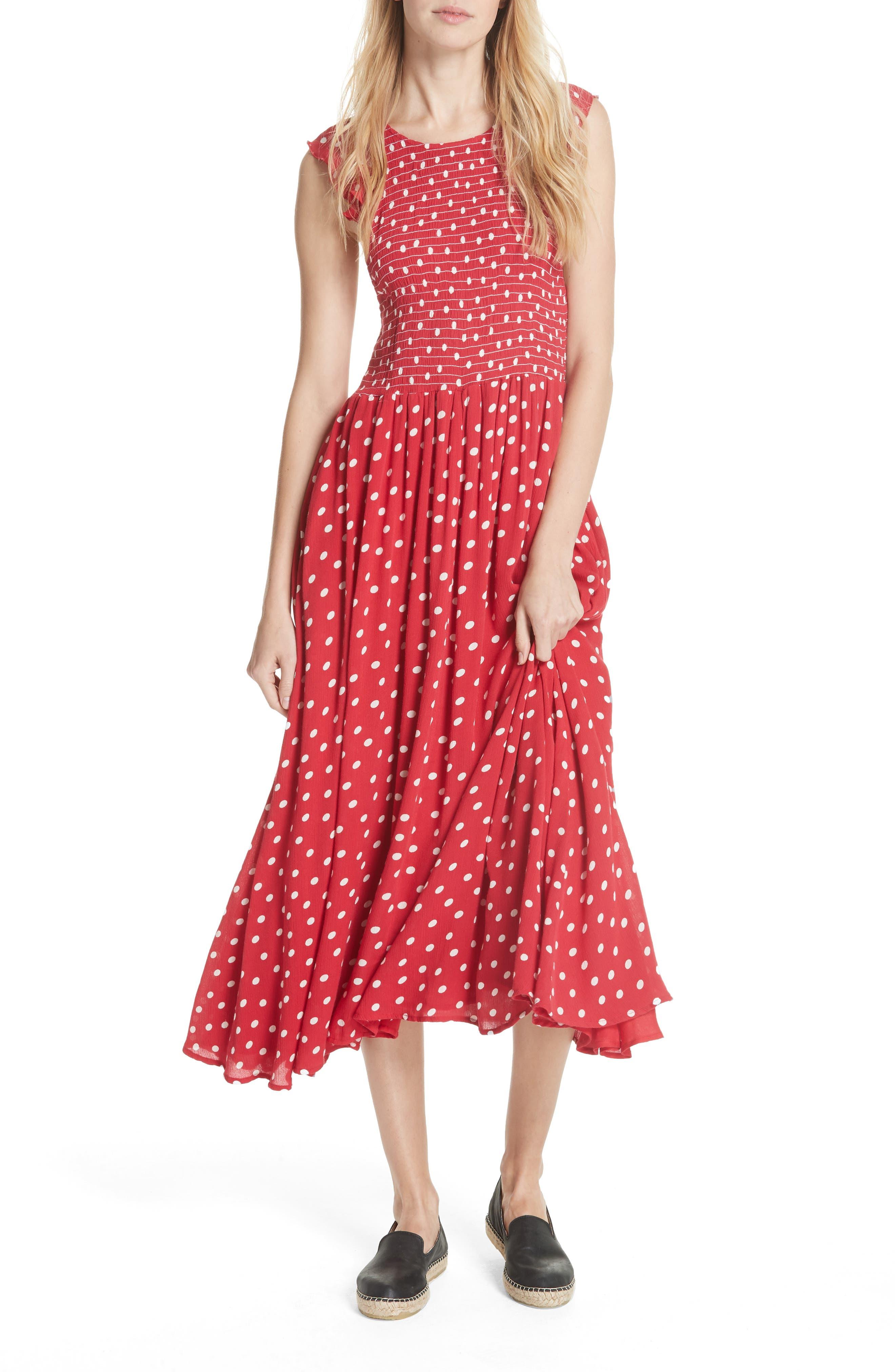Free People Butterflies Midi Dress, Red