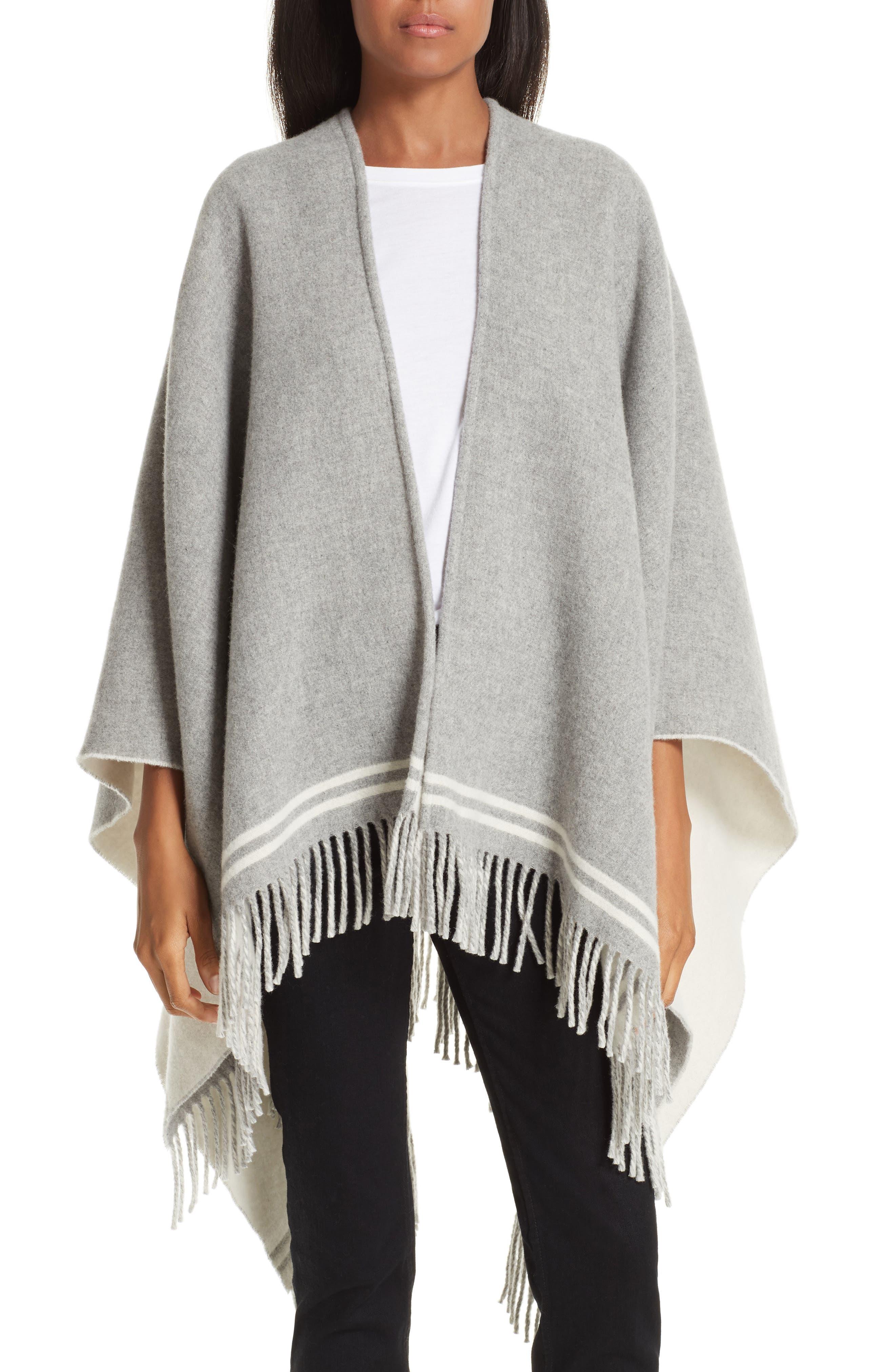 Stripe Merino Wool Poncho,                         Main,                         color, GREY MULTI