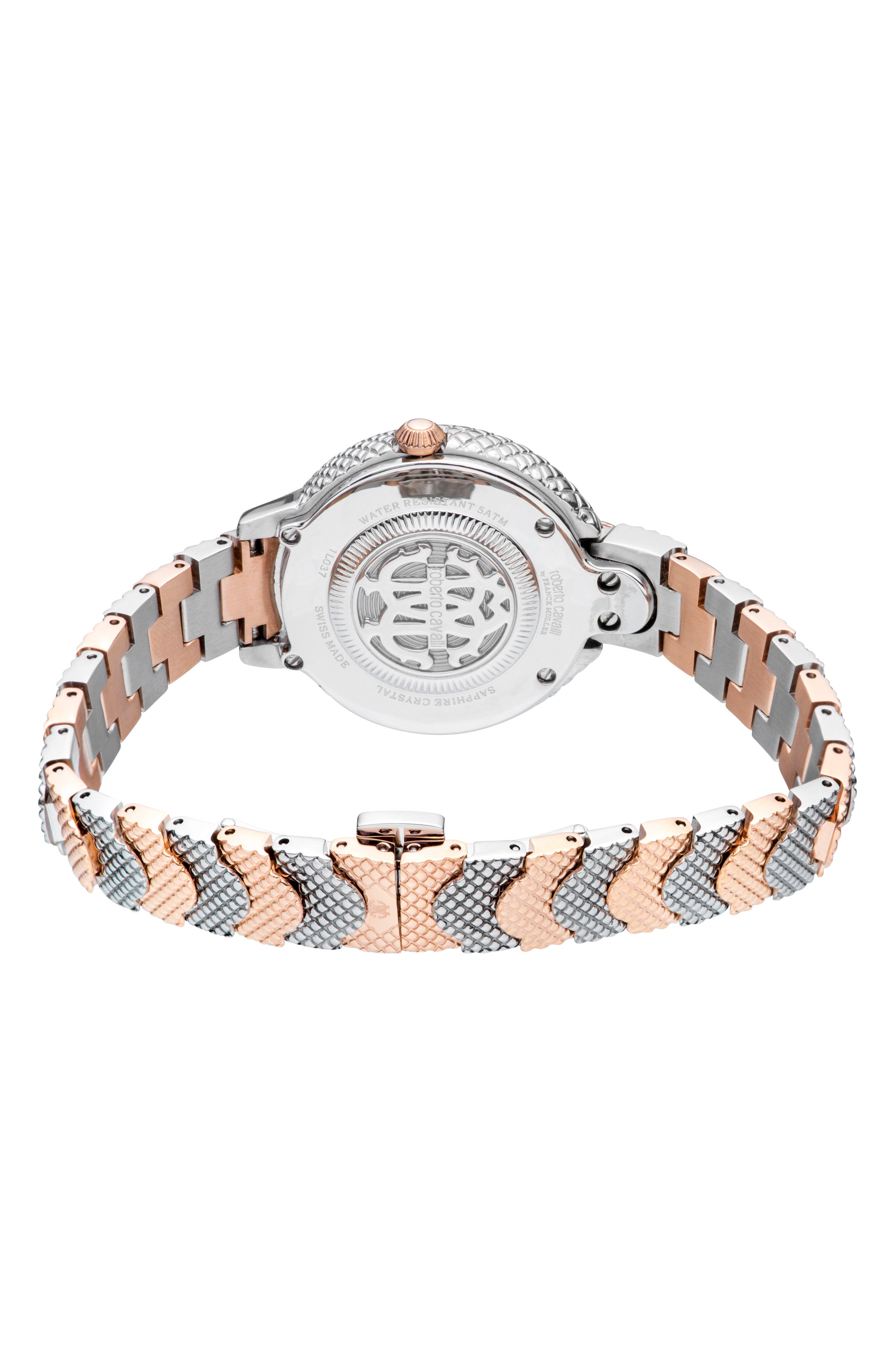 Scale Bracelet Watch,                             Alternate thumbnail 2, color,                             ROSE GOLD/ SILVER
