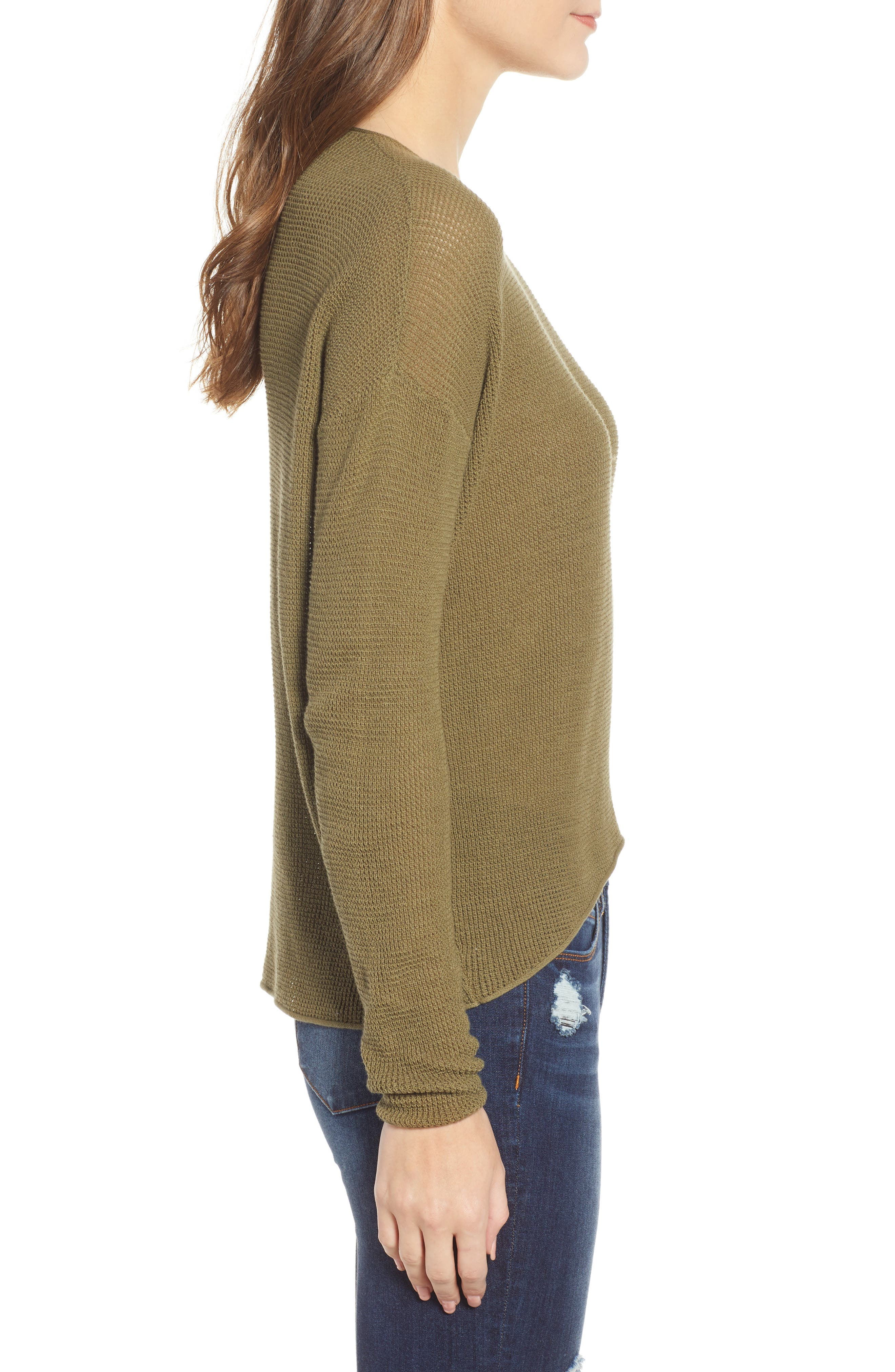 Coastal Thermal Sweater,                             Alternate thumbnail 4, color,                             OLIVE BURNT