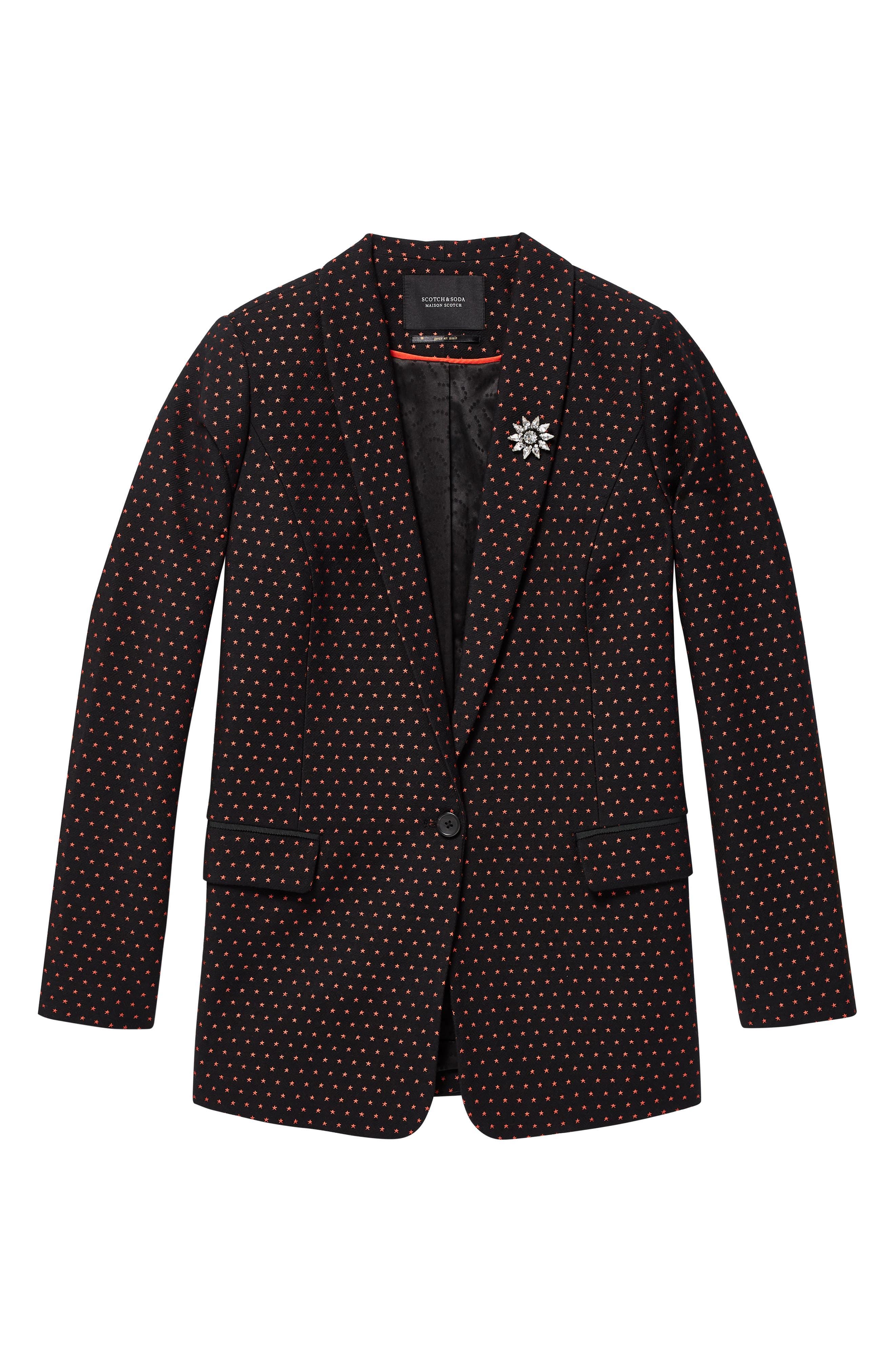 SCOTCH & SODA,                             Tailored Stretch Jacquard Blazer,                             Alternate thumbnail 3, color,                             BLACK W/ SMALL STAR PRINT
