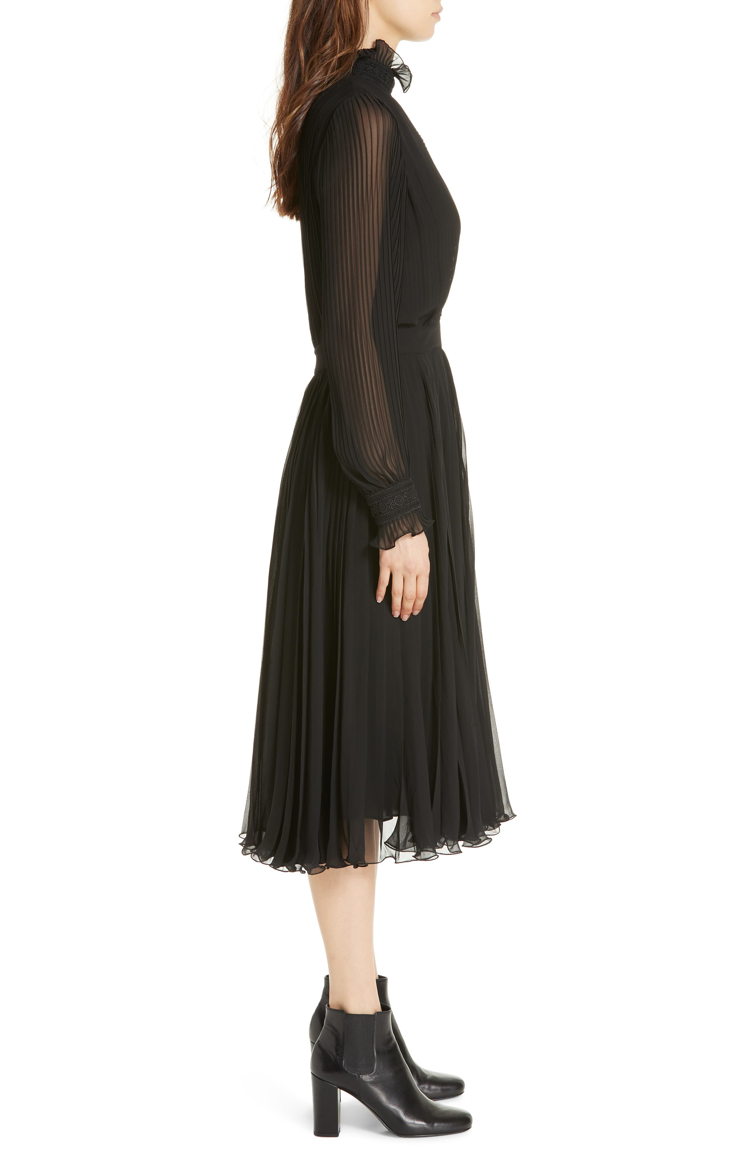 Anbele Midi Dress,                             Alternate thumbnail 3, color,                             POLO BLACK