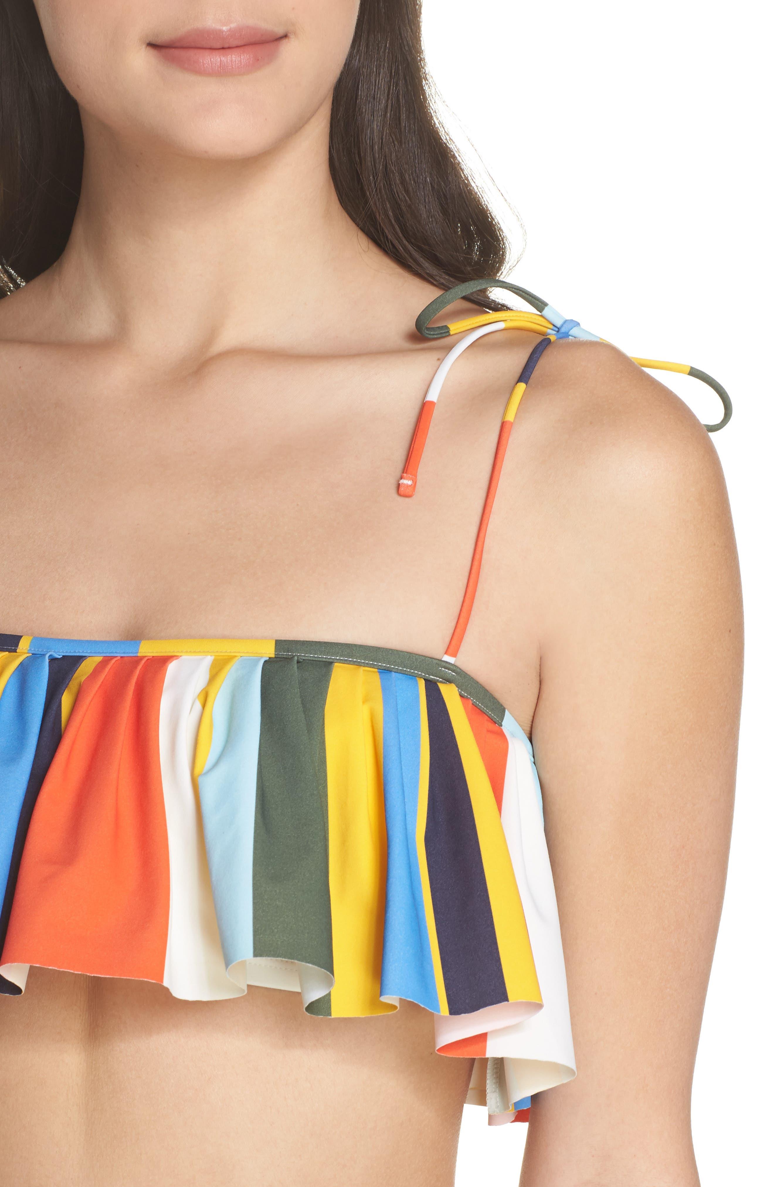 Balloon Stripe Flounce Bikini Top,                             Alternate thumbnail 4, color,                             886