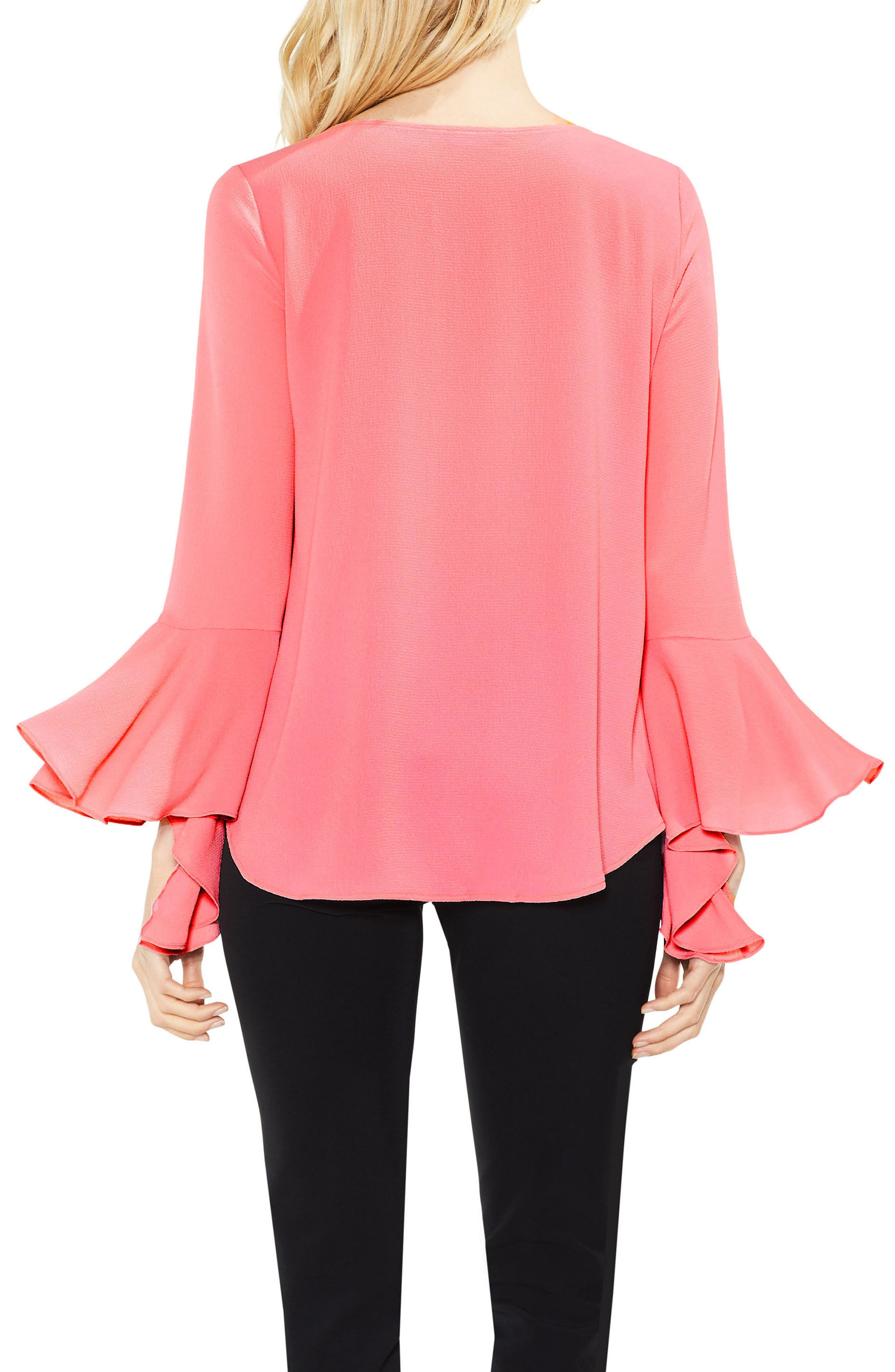 Bell Cuff Foldover Blouse,                             Alternate thumbnail 8, color,