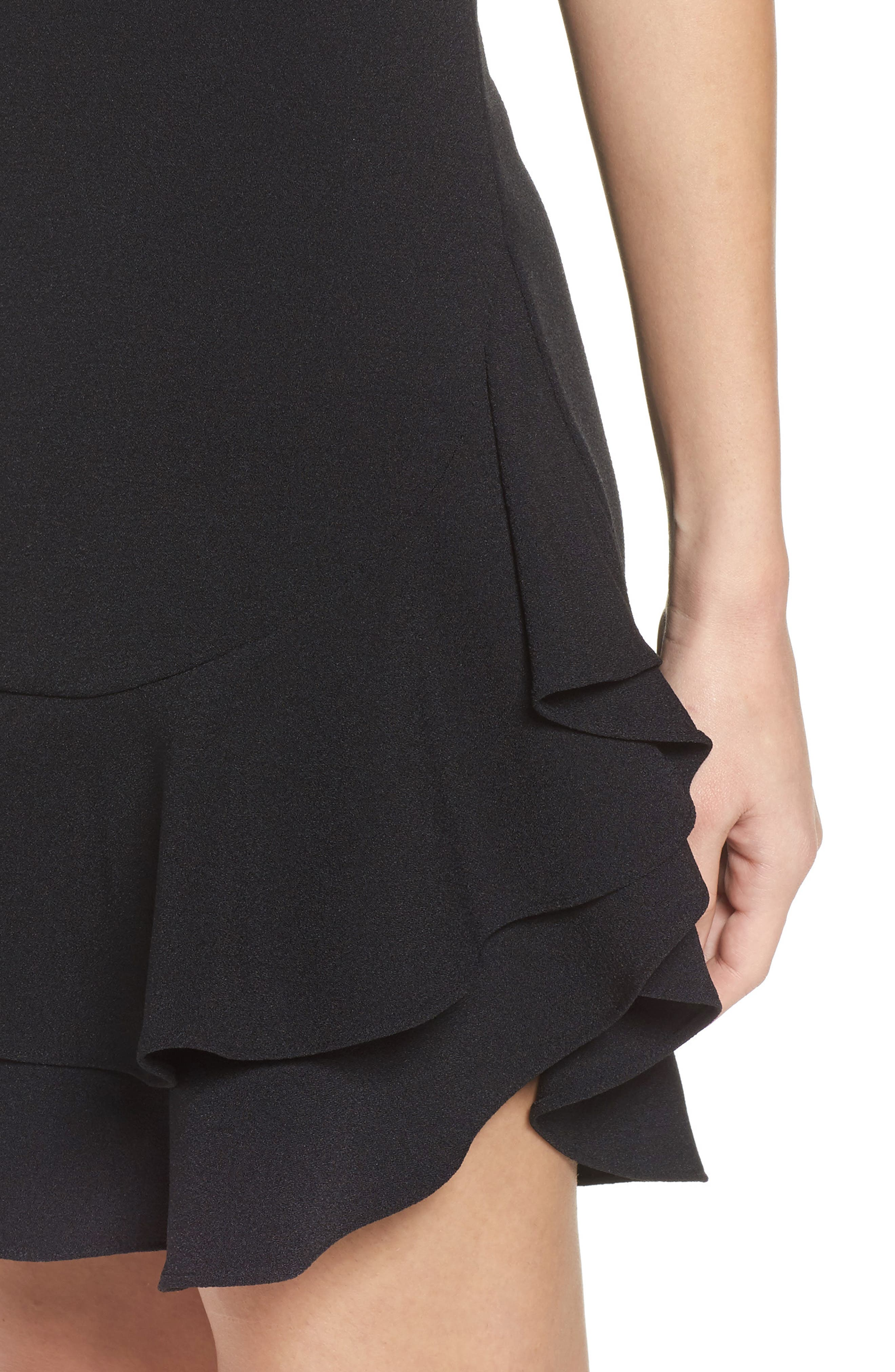 Tiered Ruffle Hem Mini Dress,                             Alternate thumbnail 4, color,                             BLACK