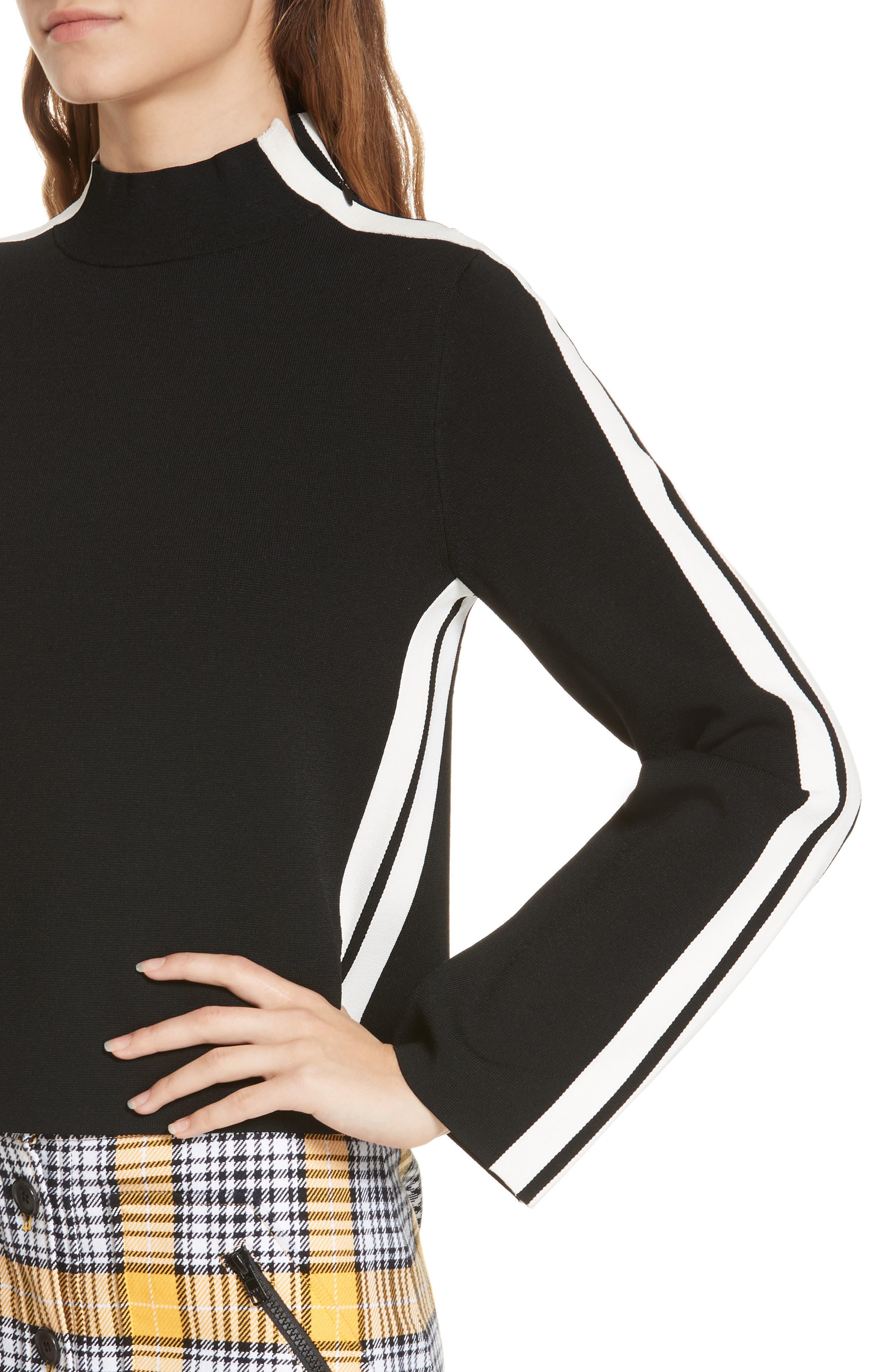 Retha Side Stripe Sweater,                             Alternate thumbnail 4, color,                             BLACK